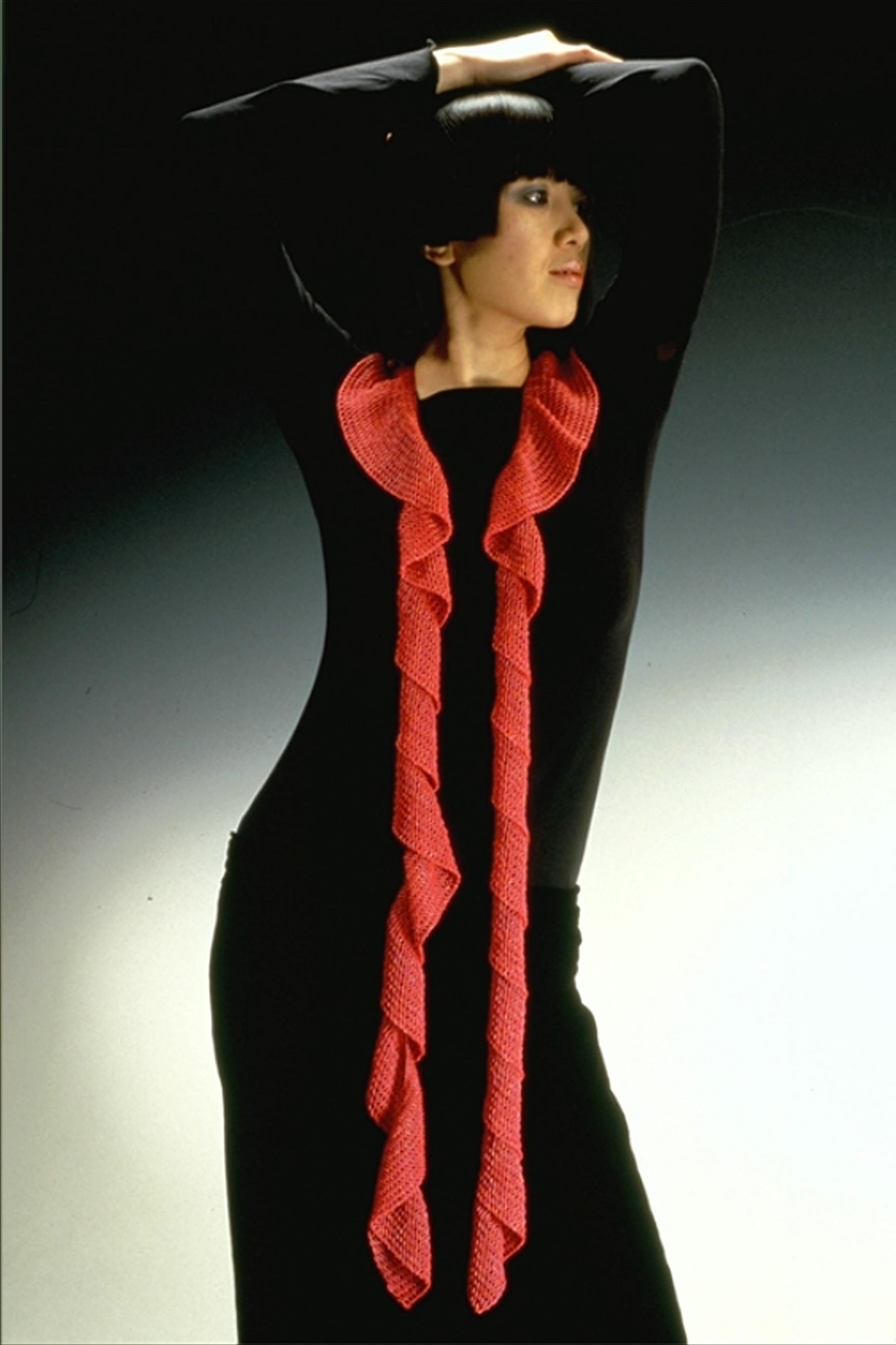 Red Ribbon Necklace on Model.JPG