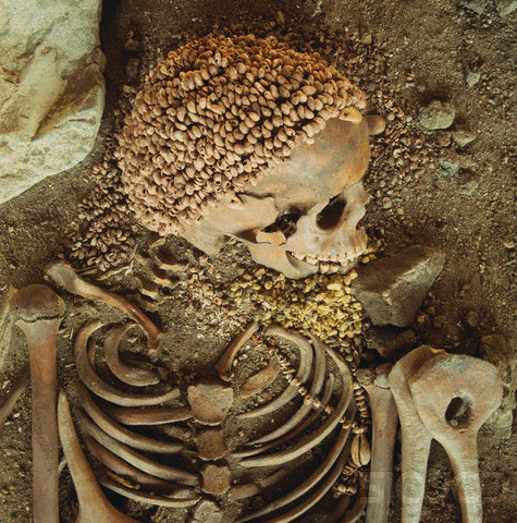 "Remains of what might have been a shell bead cap atop the skull of a man buried at Arene Candide on Italy's Ligurian coast. Archaeologists refer to the man as ""The Prince."" Radiocarbon tests indicate that he flourished ca. 22,000 - 21,000 BCE."