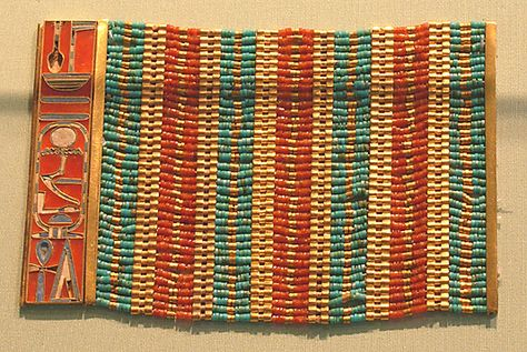 Beaded spacer plate bracelet of Sithathoriunet of Lahun, made of gold, carnelian, turquoise beads and enamel, ca. 1830 BCE. Image courtesy Metropolitan Museum of Art.