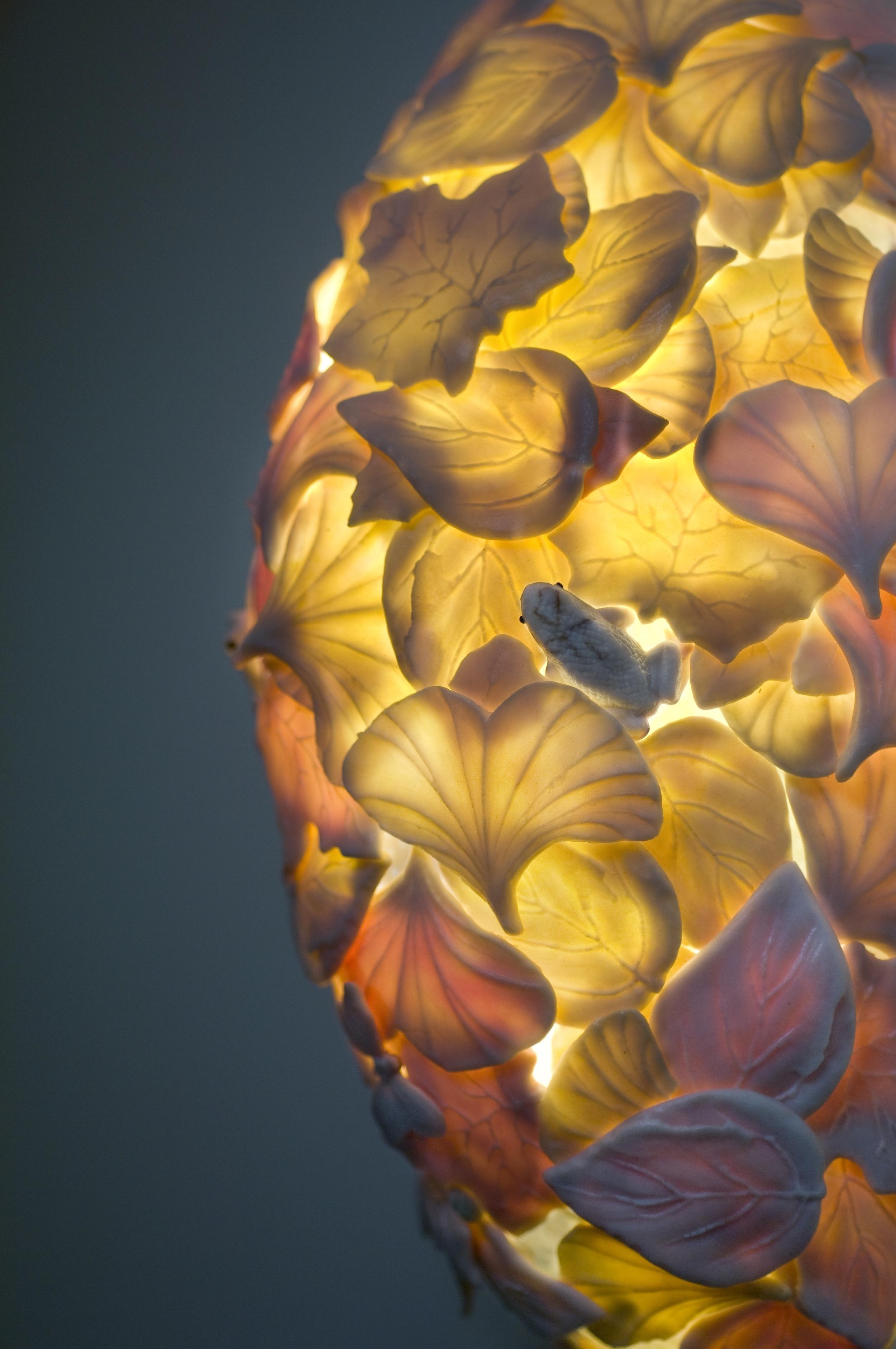 """""""Leaf Sconce"""" porcelain light by Curtis Benzle of Benzle Porcelain."""