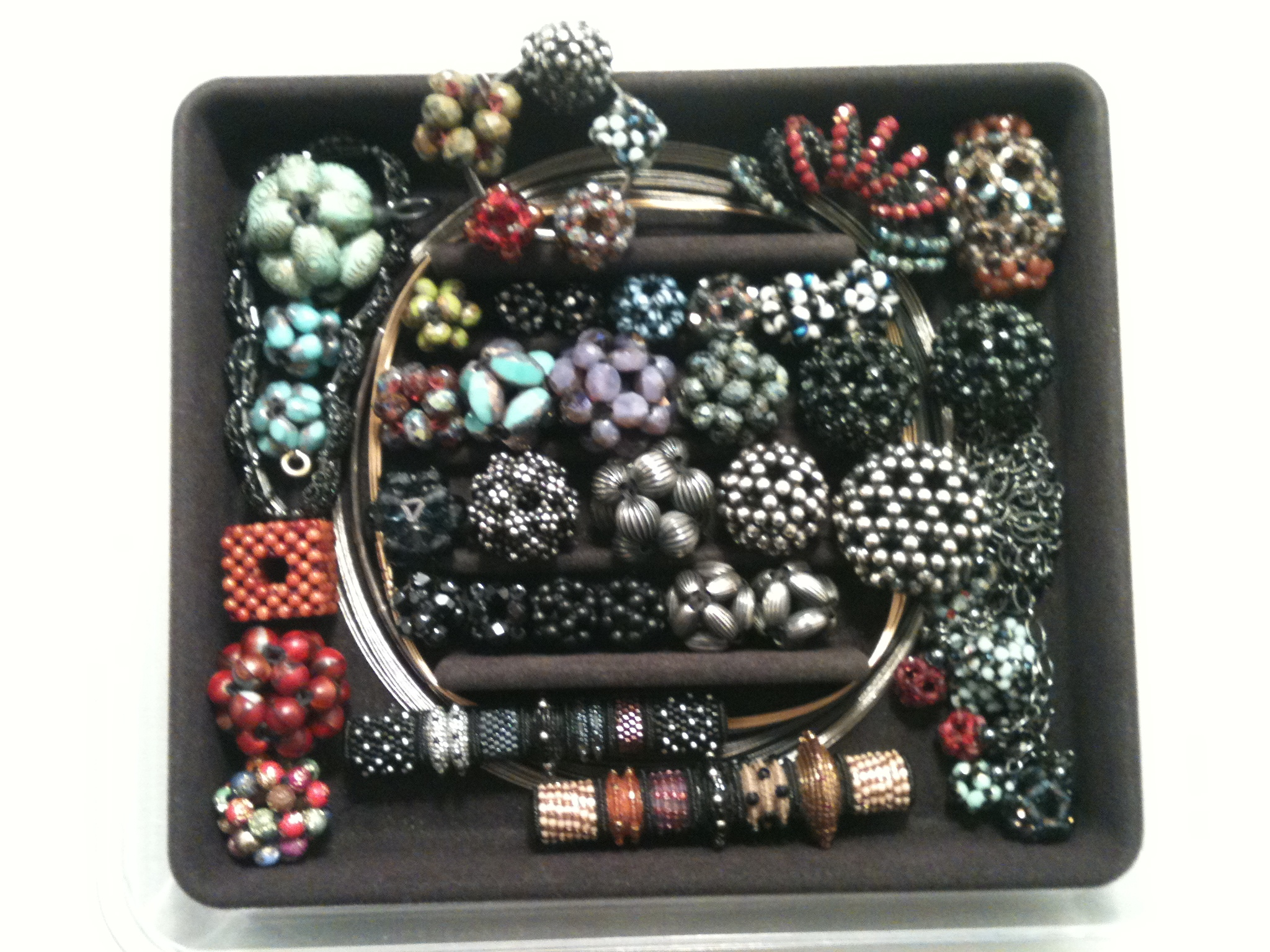 "Marilyn M. of the Chicago area shares an August, 2014 photo of my beaded Bar Pins, Brooches and Necklace Elements that she's collected     over the last 20-25 years.              Marilyn says:    ""...no matter how I combine (your) beads they never fail to dazzle and always draw lovely comments.   Thank you!"""
