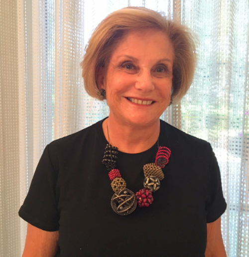 "Lynn K. of Palm Beach, FL, wearing her ""Elements"" necklace in March, 2016.      Lynn says:  ""I love your work.  The designs are always unique and the quality is outstanding.  This is necklace number 5 for me. Whenever I wear one of the necklaces people always compliment me.  They want to know who designed it or they say I recognize Valerie Hector!!"