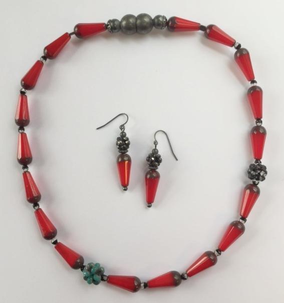 Little Red Teardrop Earrings with a Little Red Teardrop Necklace.