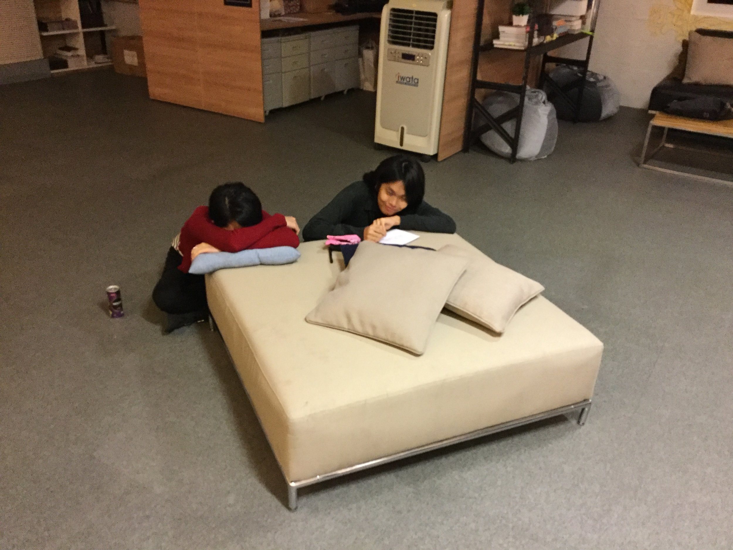 Jen Santos and Tracy Gibson take short nap breaks, as guaranteed by the Gunship Revolution charter of 2013.