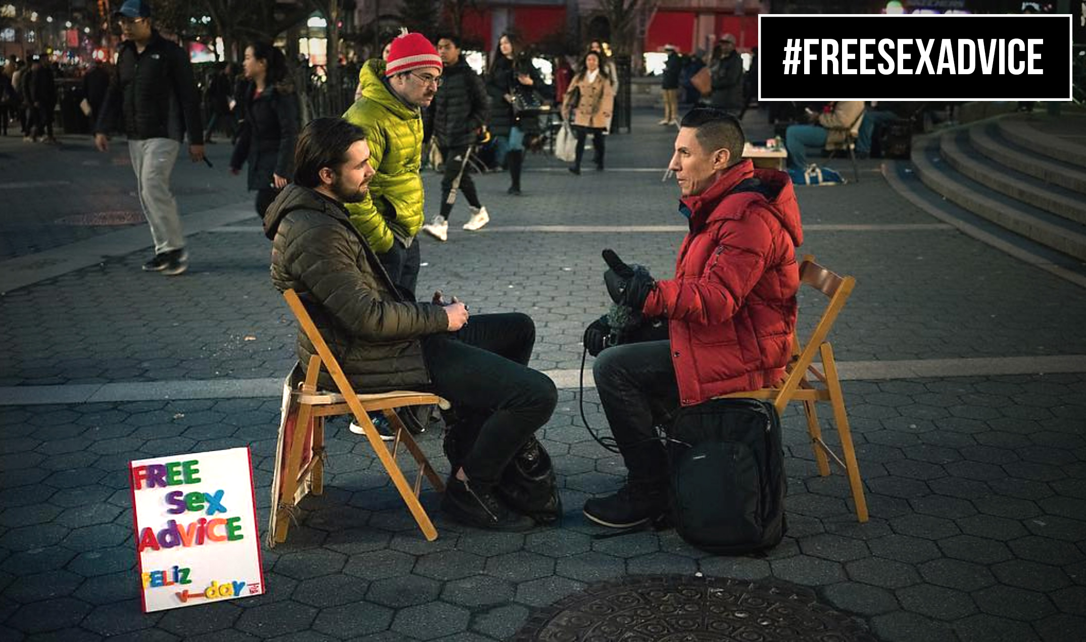 FREE SEX ADVICE — SINCE 2008  Something on your mind? Come meet Francisco in a New York City park where he offers #FreeSexAdvice to strangers on weekends. Ask whatever's on your mind about sex, dating, and identity, and get ready for a conversation that's lively, down-to-earth, and completely tailored to you.  Want to hear about Francisco's most surprising conversations from the park? Sign up to get the scoop below.