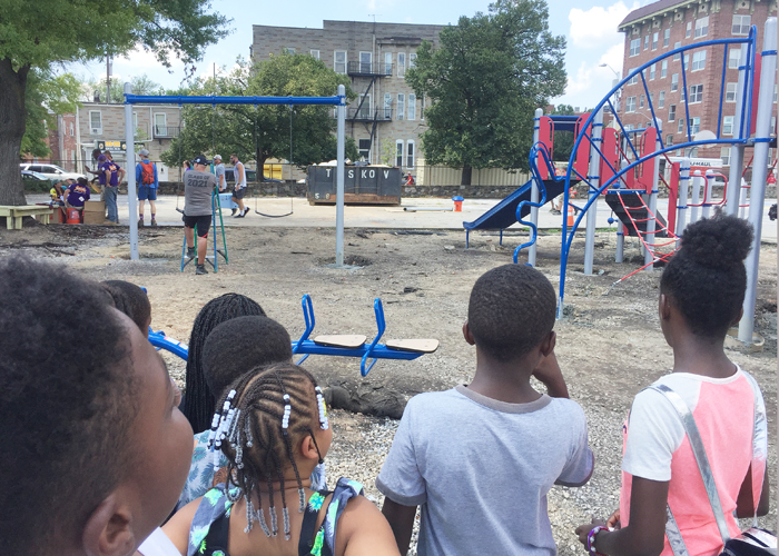 Students from Eutaw-Marshburn Elementary School admire their new playground.