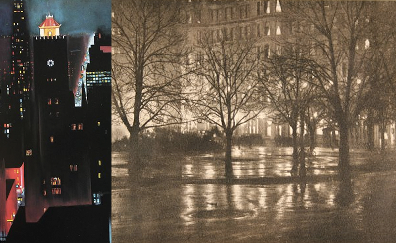 As public lighting blossomed in American cities in the decades before and after the turn of the 20th century, artists like Georgia O'Keefe (left) and Alfred Stieglitz (right)  began to look at its transformative effects in different ways . Nighttime photography was technically difficult, a fact that limits the historical record of early electrification. Painting was also more difficult but could convey effects of lighting that photography could not. In these images we see the effects of the Great White Way in New York, streets generously bathed in bright, glaring white (which is to say relatively bluer than gaslight) electric light.