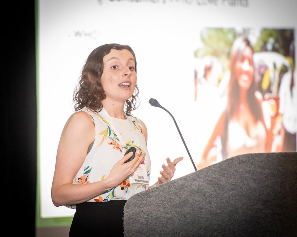 Virginia Frazier, executive director of the Collegiate Plant Initiative, speaks to attendees at NHF's Reception at the 2019 Tropical Plant International Expo. Photo Courtesy FNGLA
