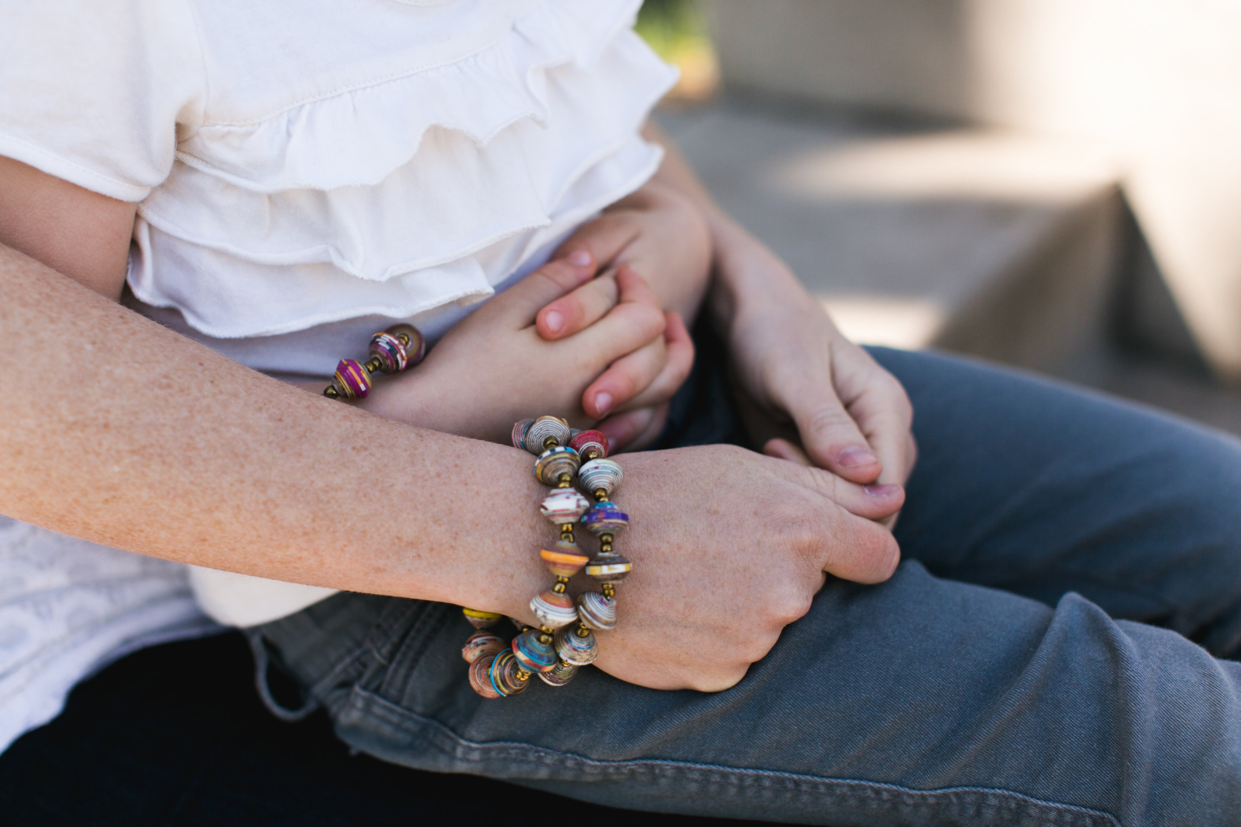 Haitian Bracelets made by mothers from recycled cereal boxes