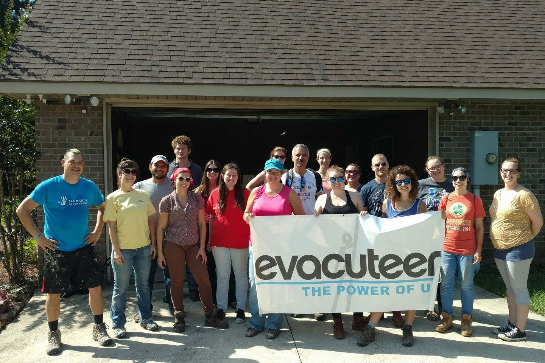 Evacuteer partnered with All Hands Volunteers to help rebuild flood damaged homes in Hammond.