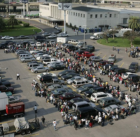 The line of people waiting outside of Union Passenger Terminal during the evacuation for Hurricane Gustav in 2008.