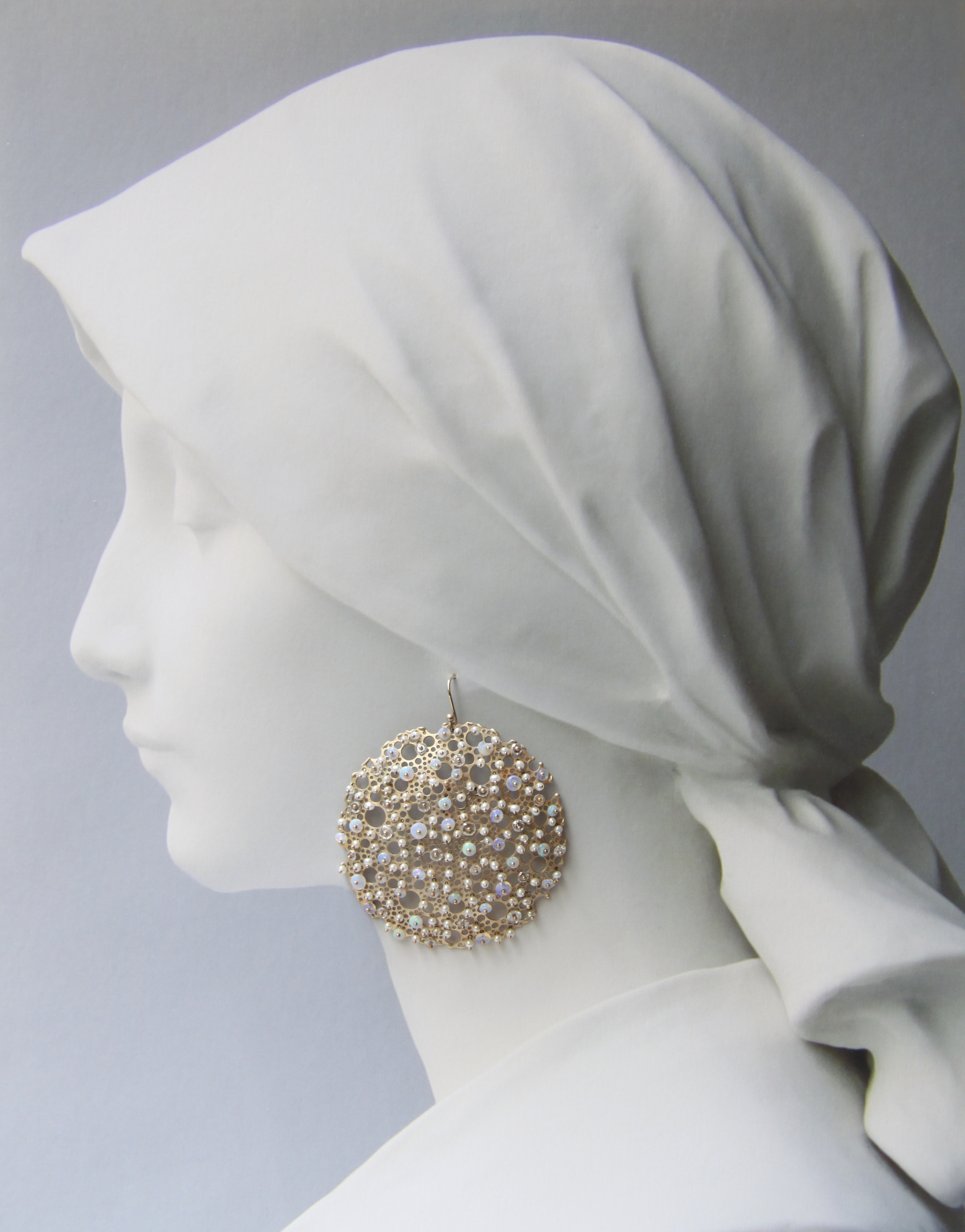 Queen Anne's Lace Gold with Australian Opal, White Diamond and Keshi Pearl