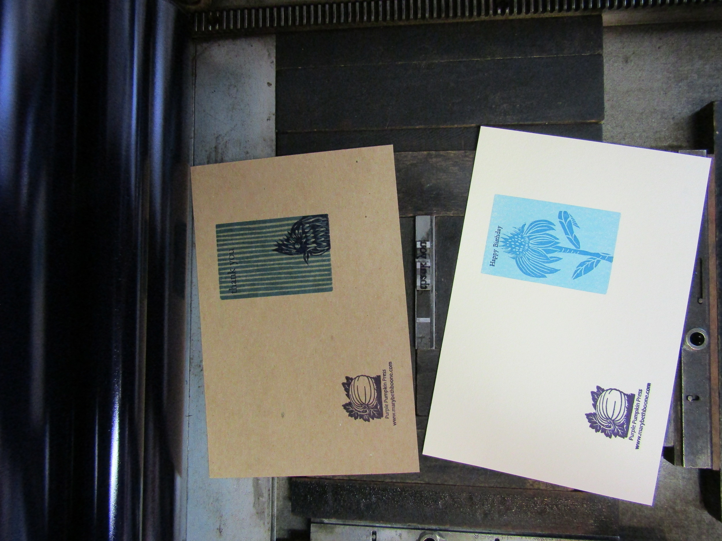 Greetings printed using handset metal type. I will fold and package once dry.