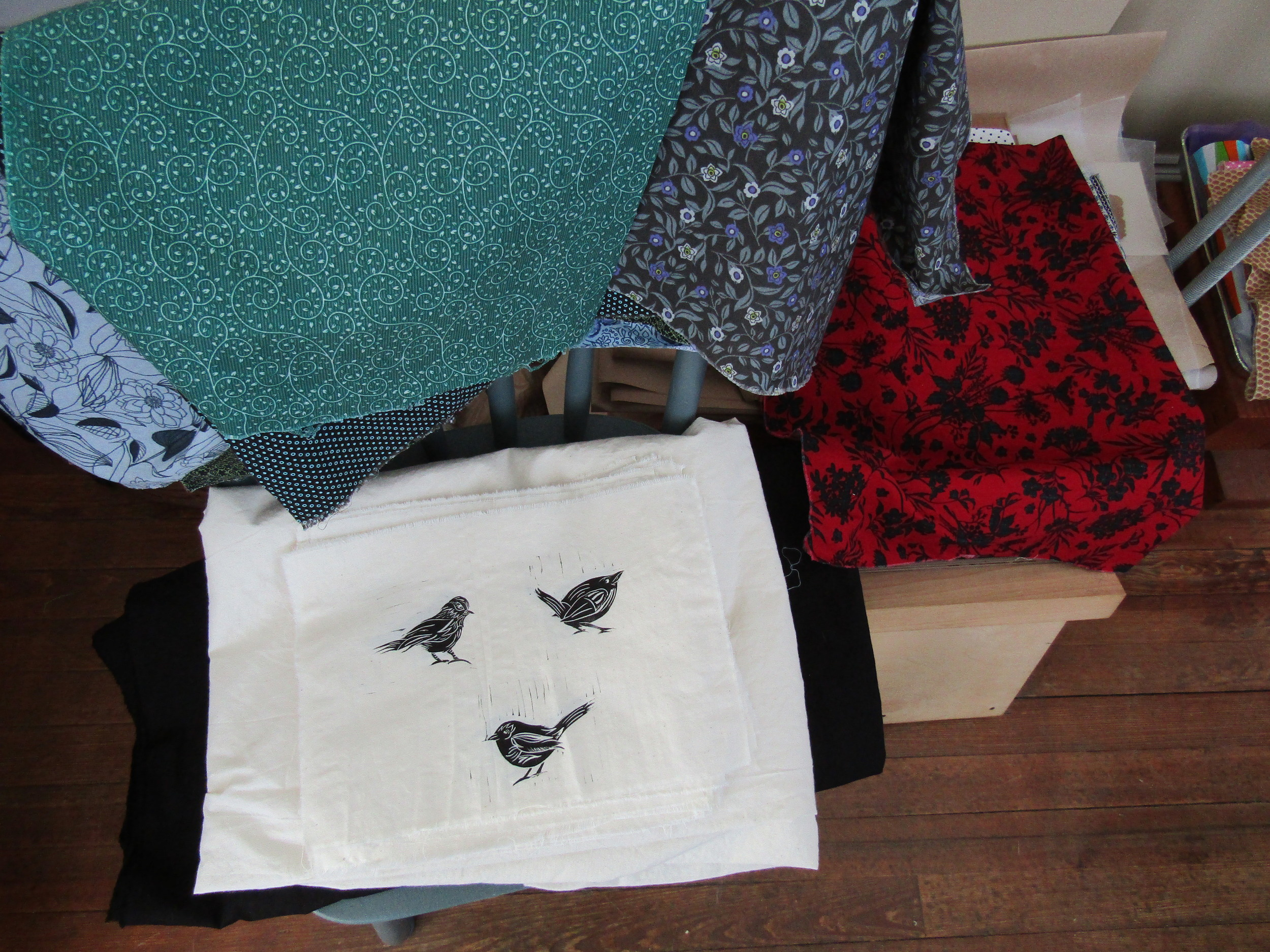 Various fabrics and printed birds - ready to put it all together!