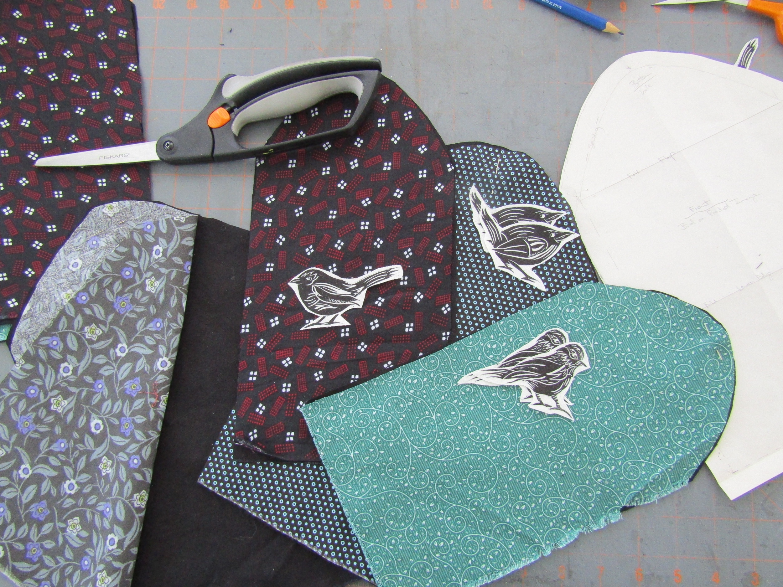 Various fabrics and birdies - working on multiples.