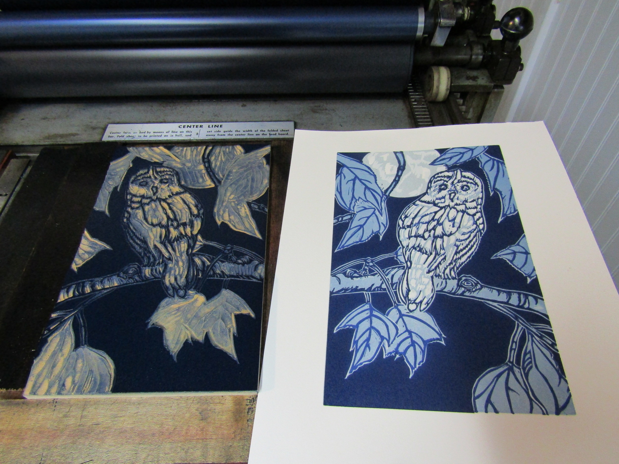 It is always satisfying as the registration of color and form come together when completing a reduction print!