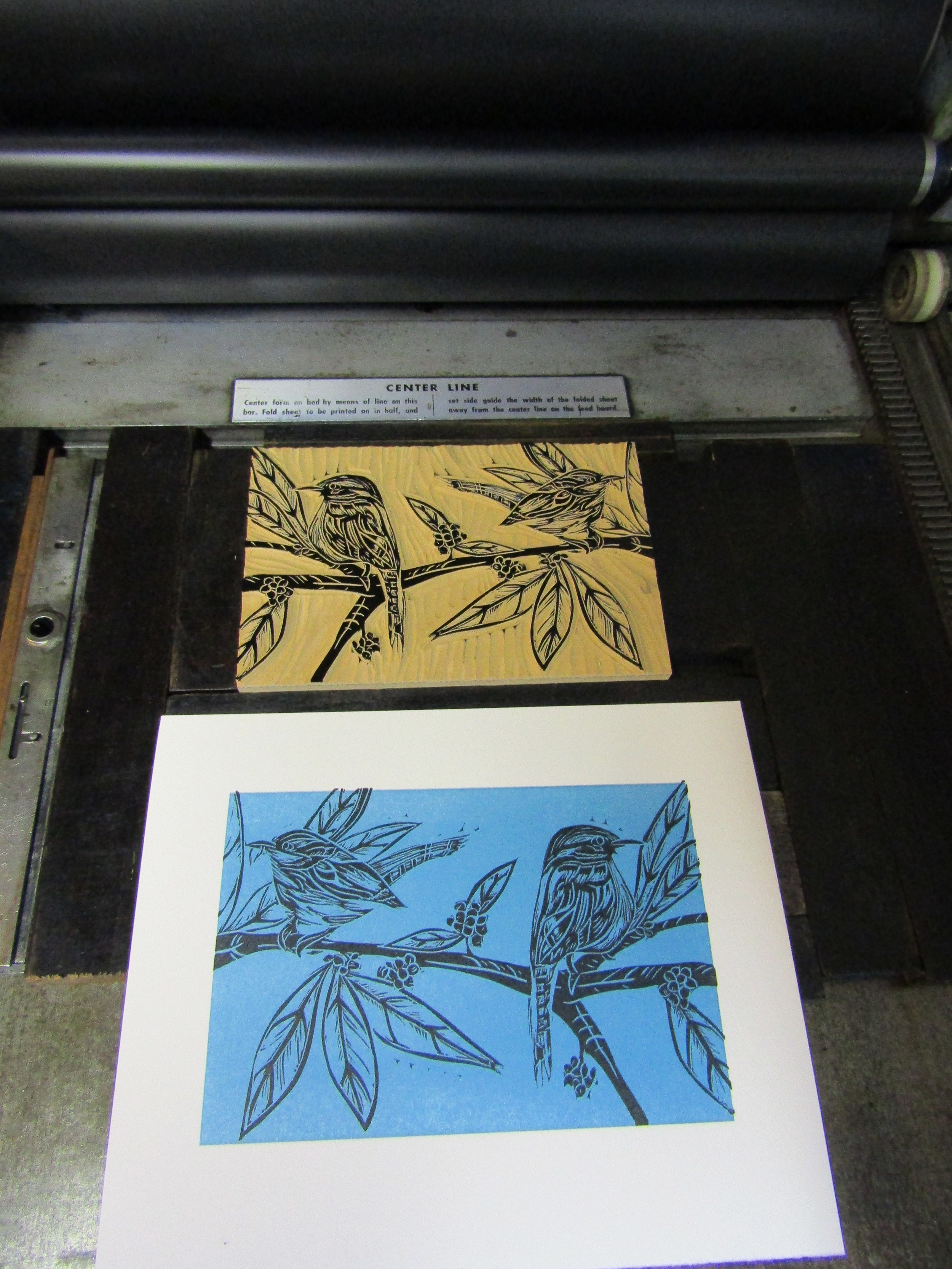 I printed a small edition using Rives BFK paper; and began the edition by printing a blue mat.