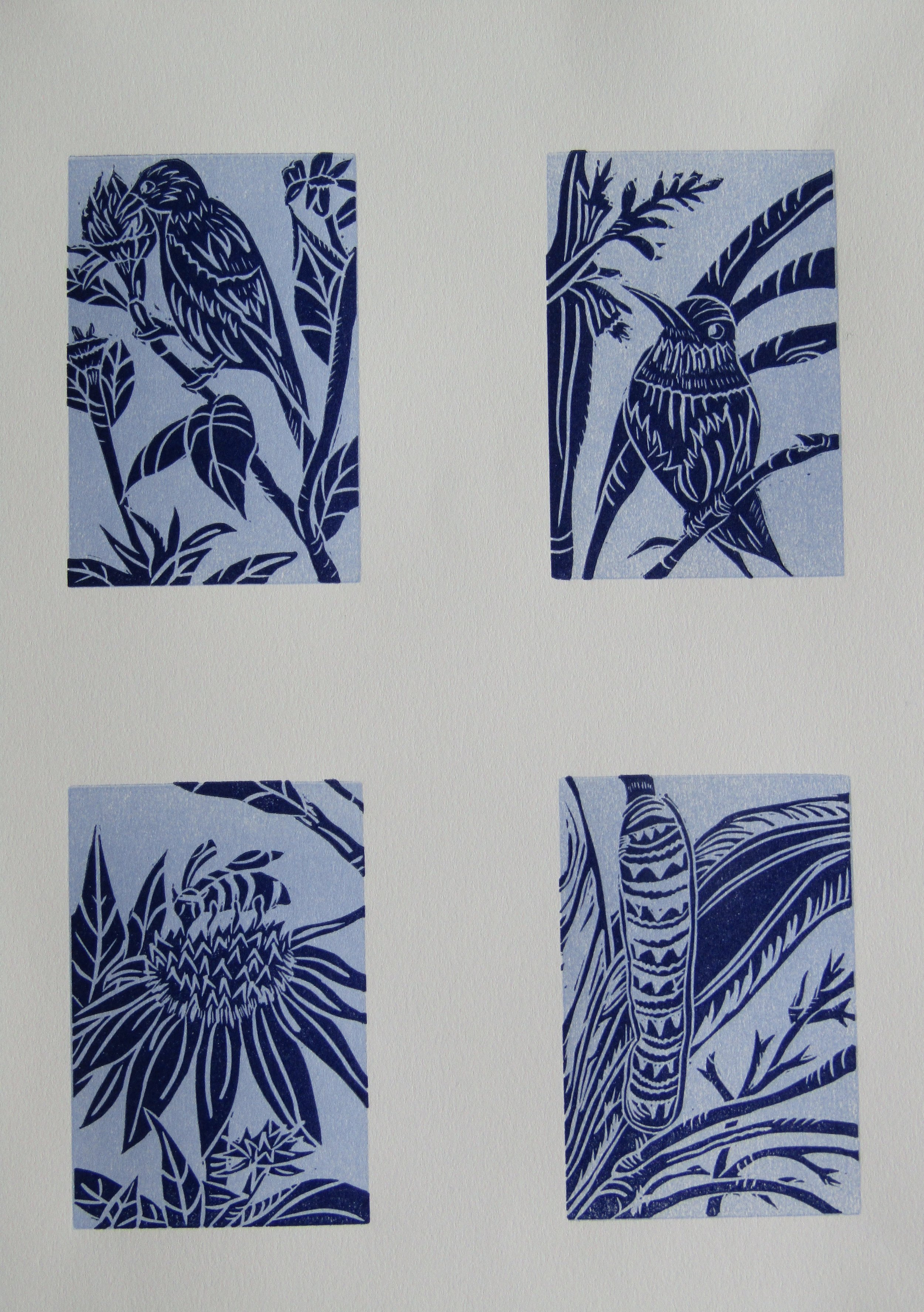 These four prints were the images that would become the 'Garden Vignettes'. I love the blues!