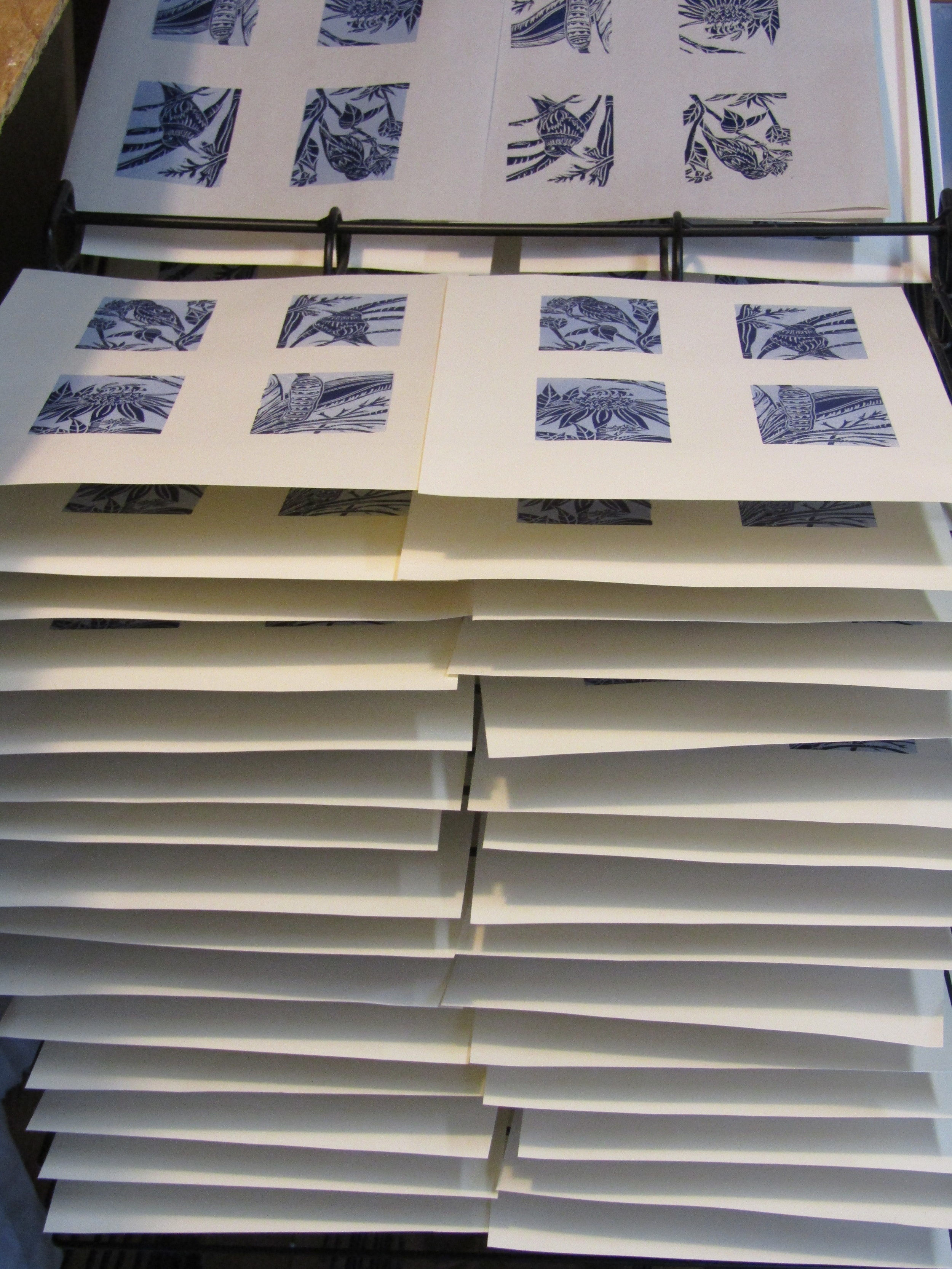 I printed numerous prints, since I would need at least five prints of each image for each tunnel book.