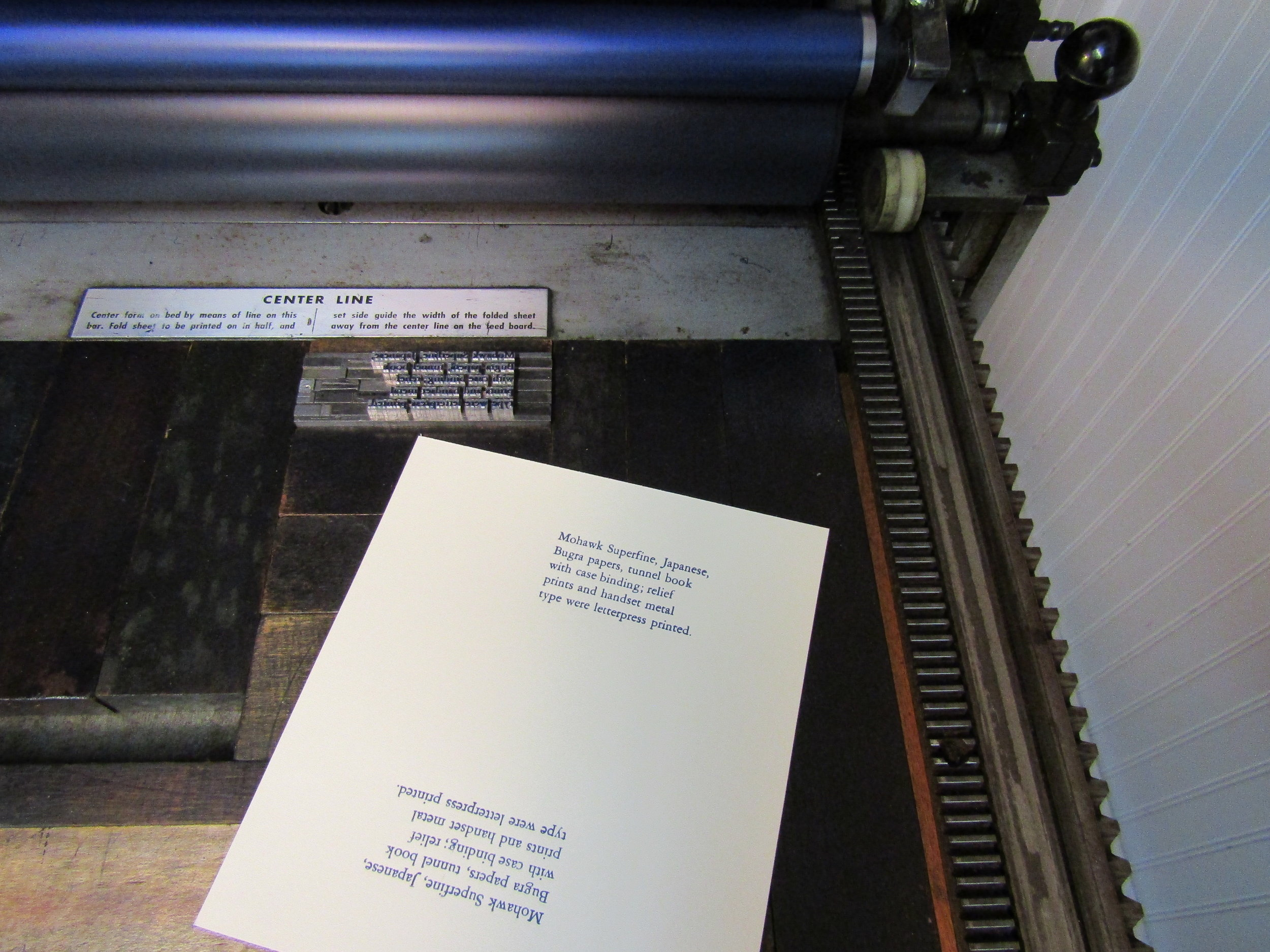 Printing the colophon on Mohawk Superfine. I will also use this paper for the 'belly' wrap.