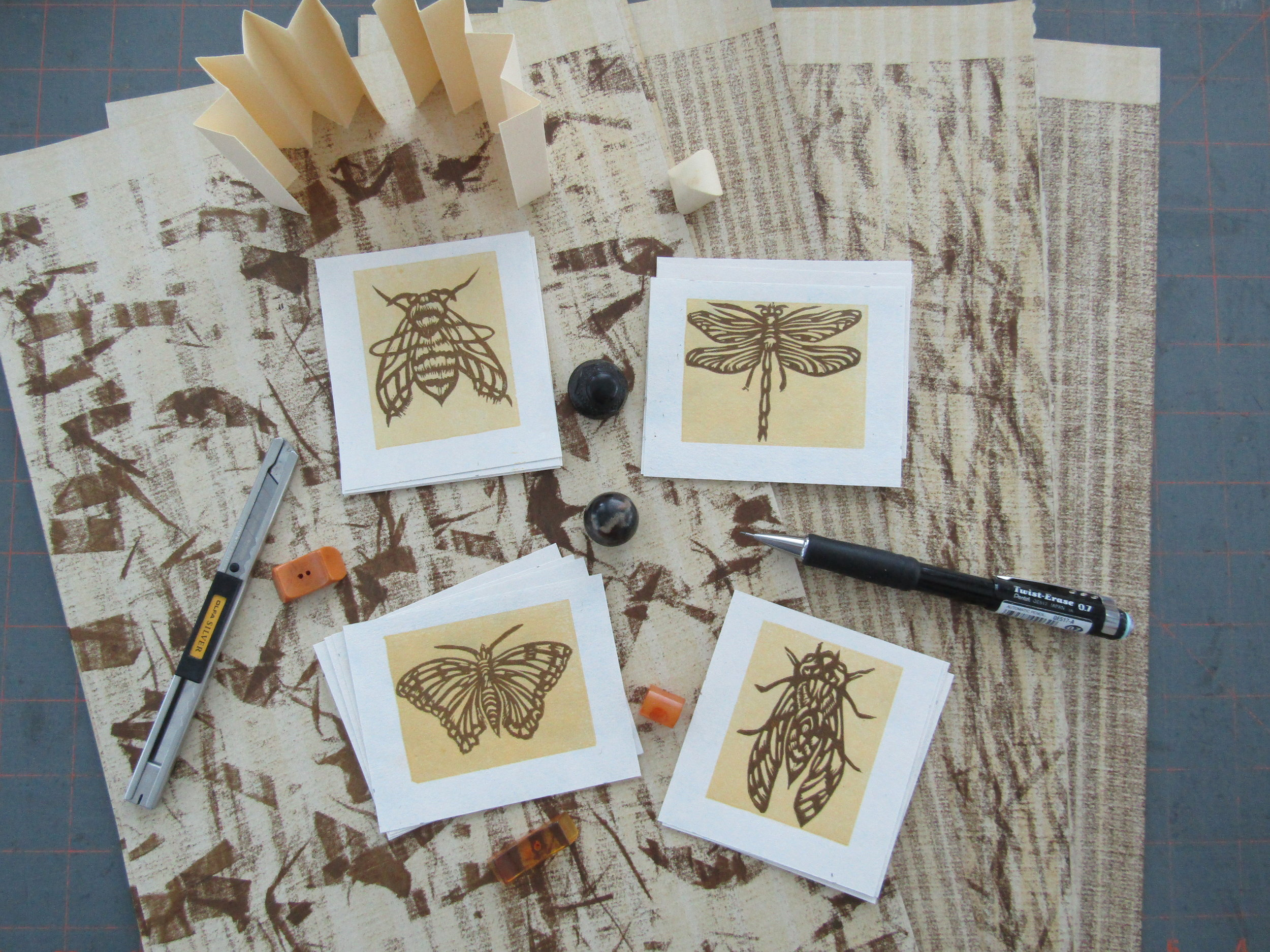 Insect prints completed, pressure prints completed (on Niddeggen paper). I will now begin designing and building the reliquaries. I love playing around with the various components!