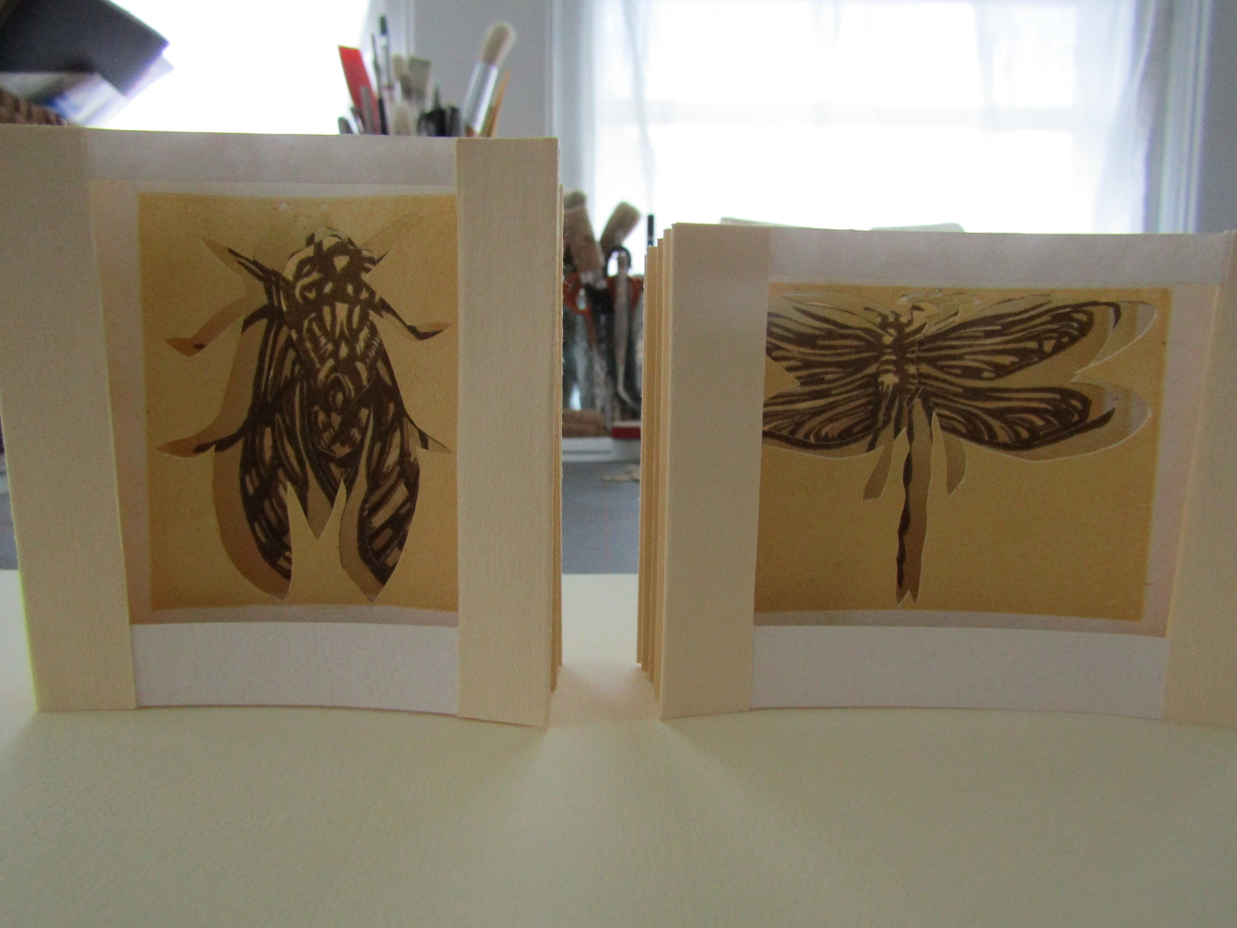 Here are the completed cicada and dragonfly tunnel books.