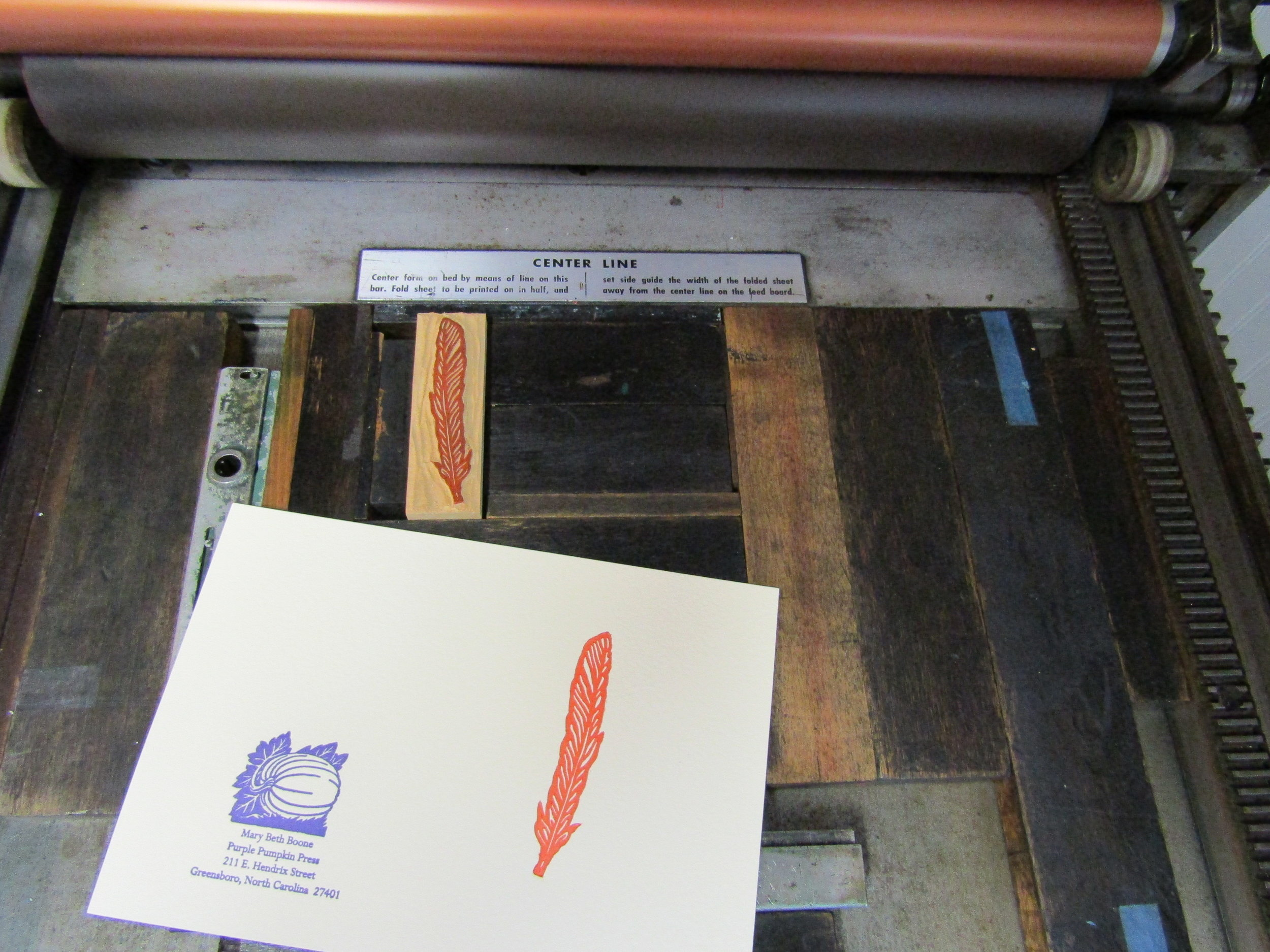 Printing the feather.