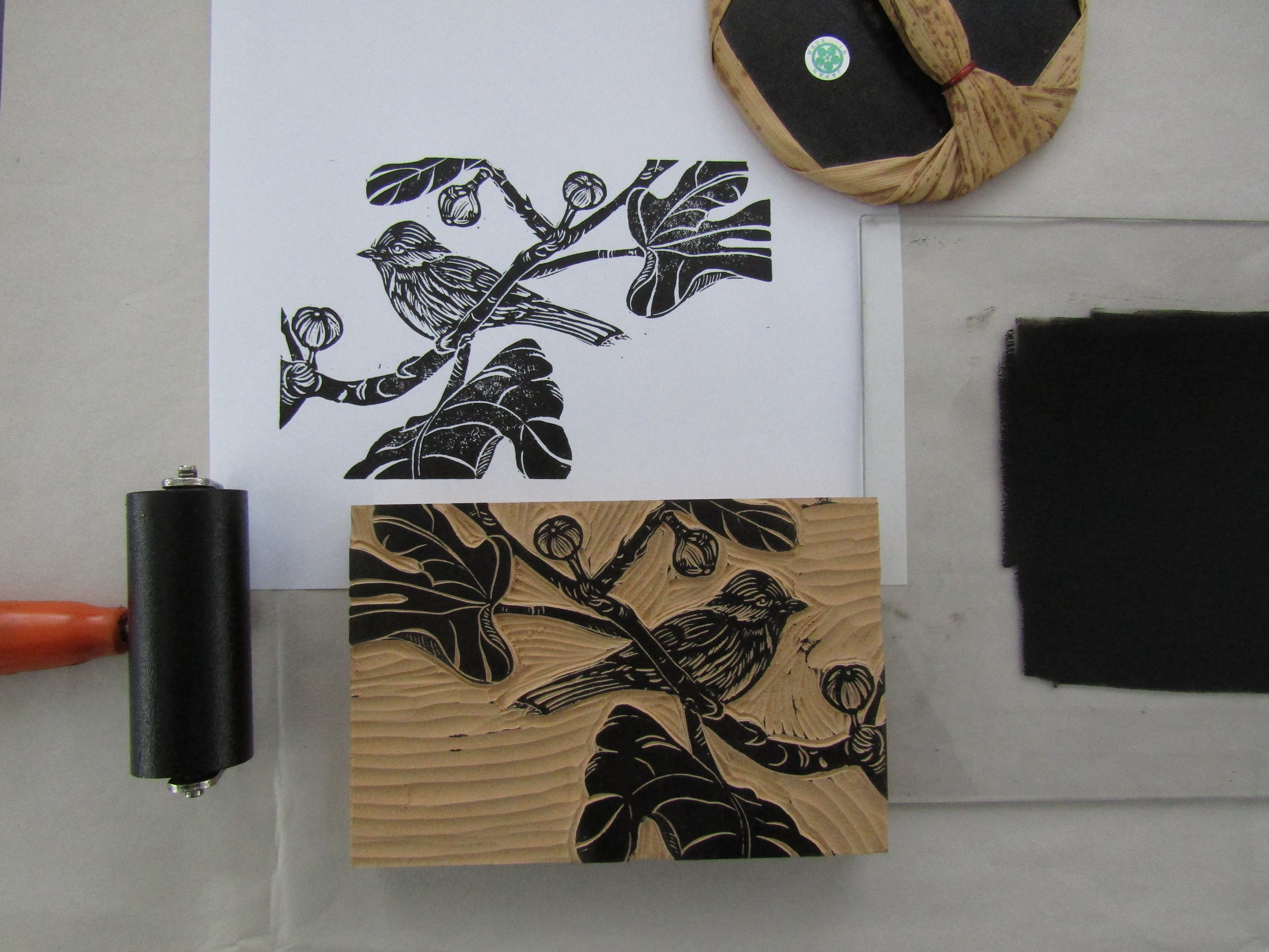 I proofed each block before printing the book on my letterpress. Here is a proof of the chickadee and fig tree image.