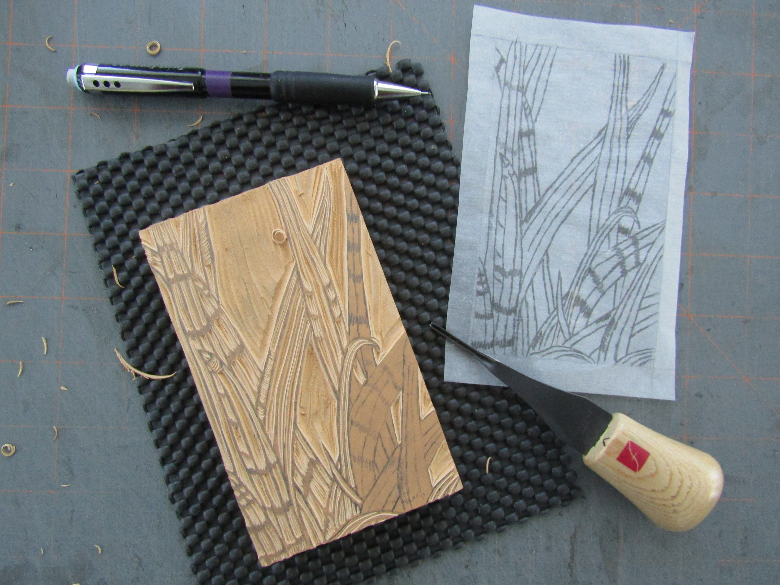 I also carved a block using an image of iris leaves. I wanted multiple layers to use for the book pages.