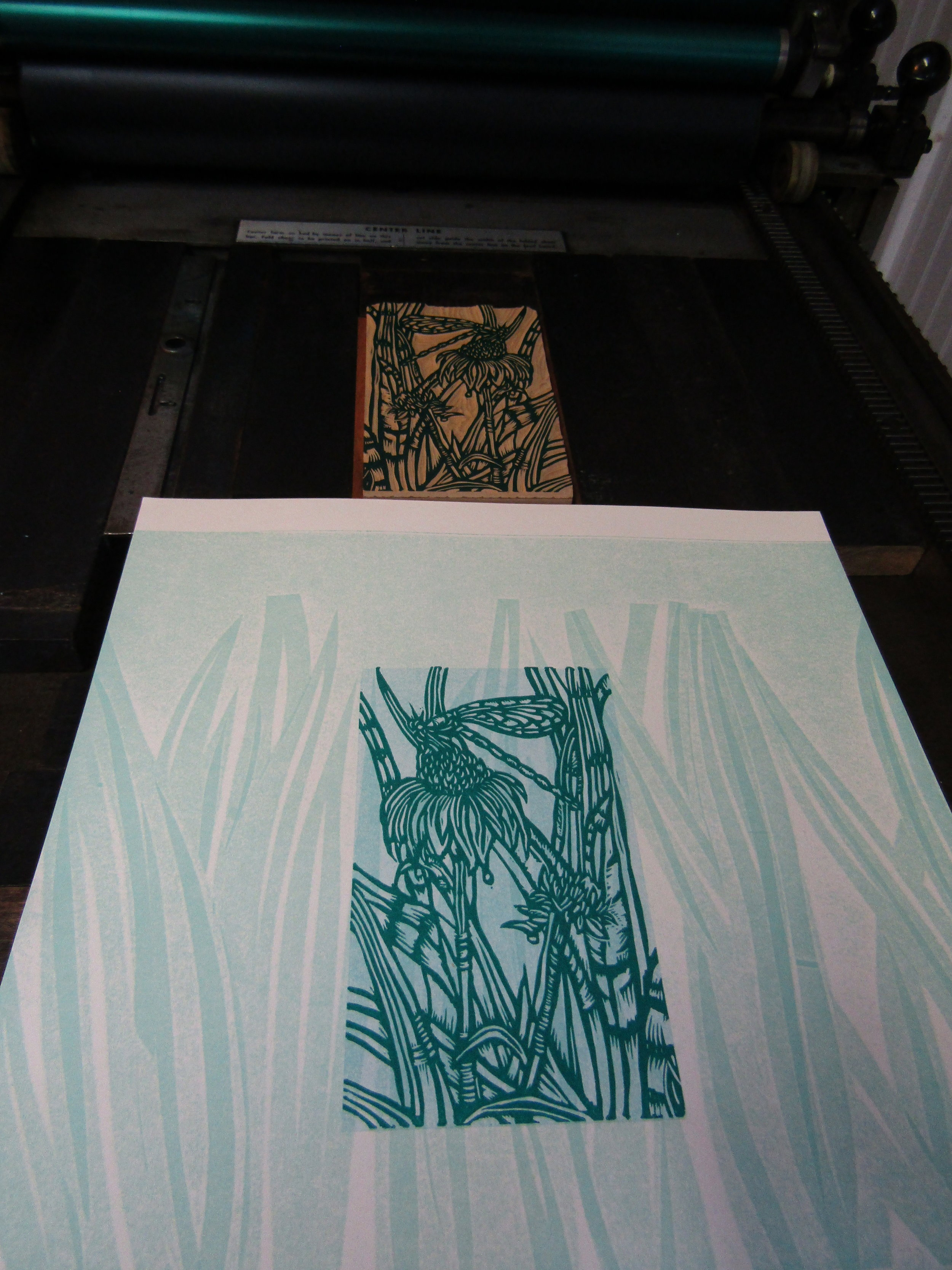 I printed the blocks on pressure prints of iris leaves.