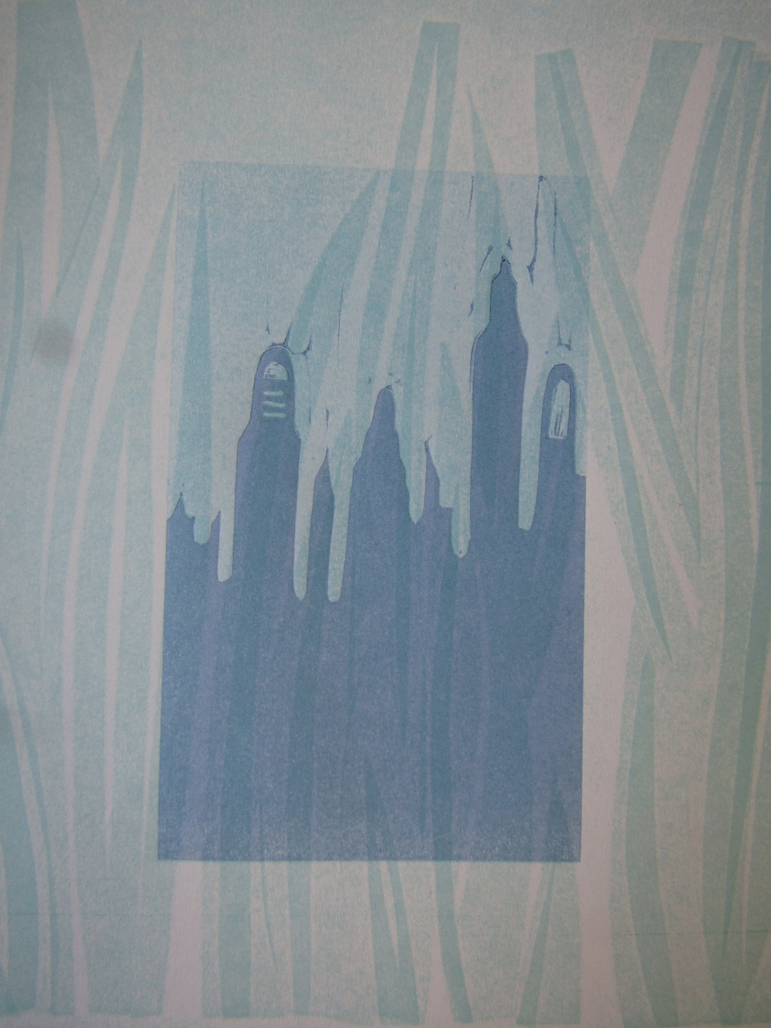 Cityscape block printed on the iris leaves.