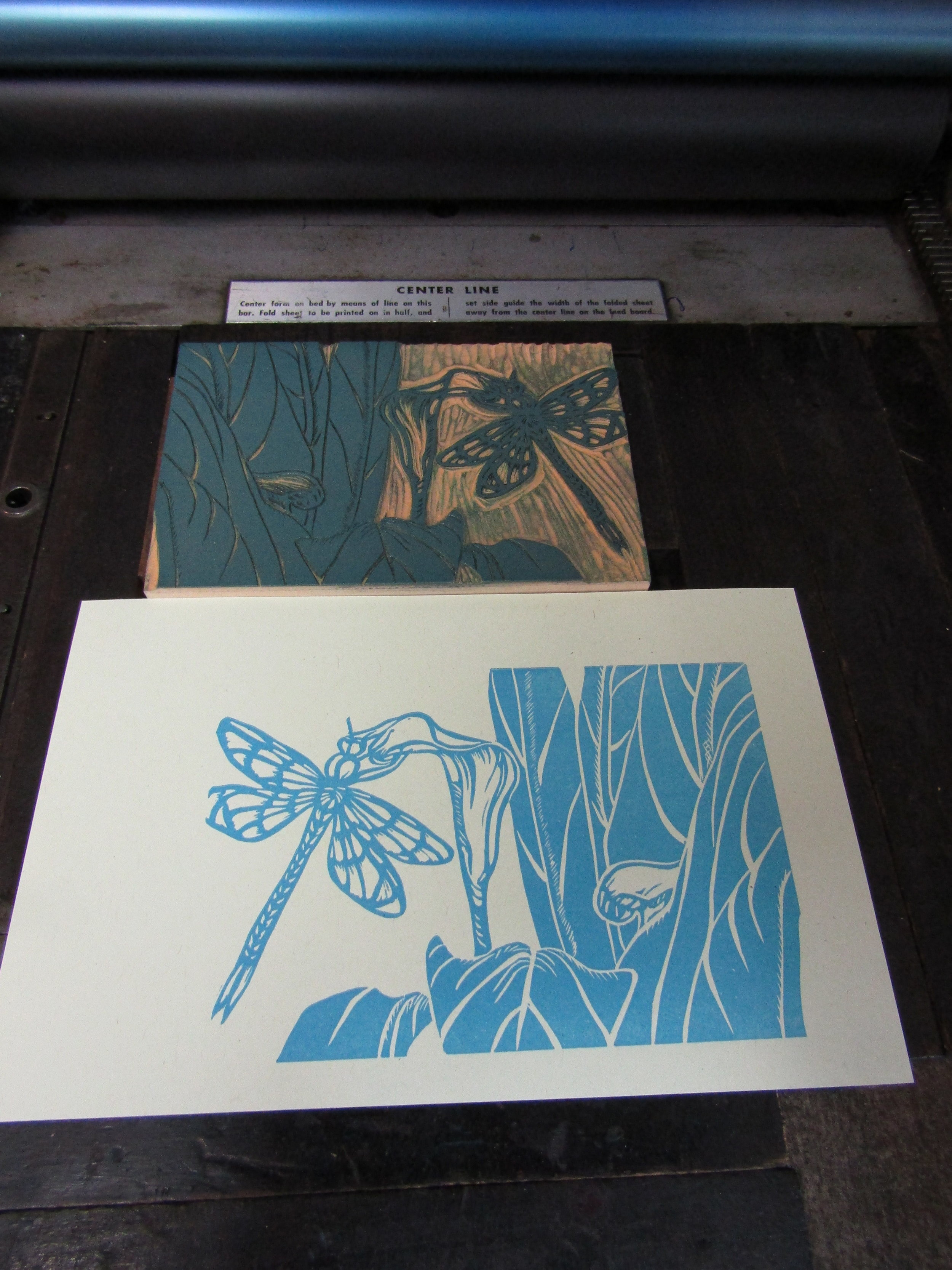 Printing the dragonfly and calla lilly.