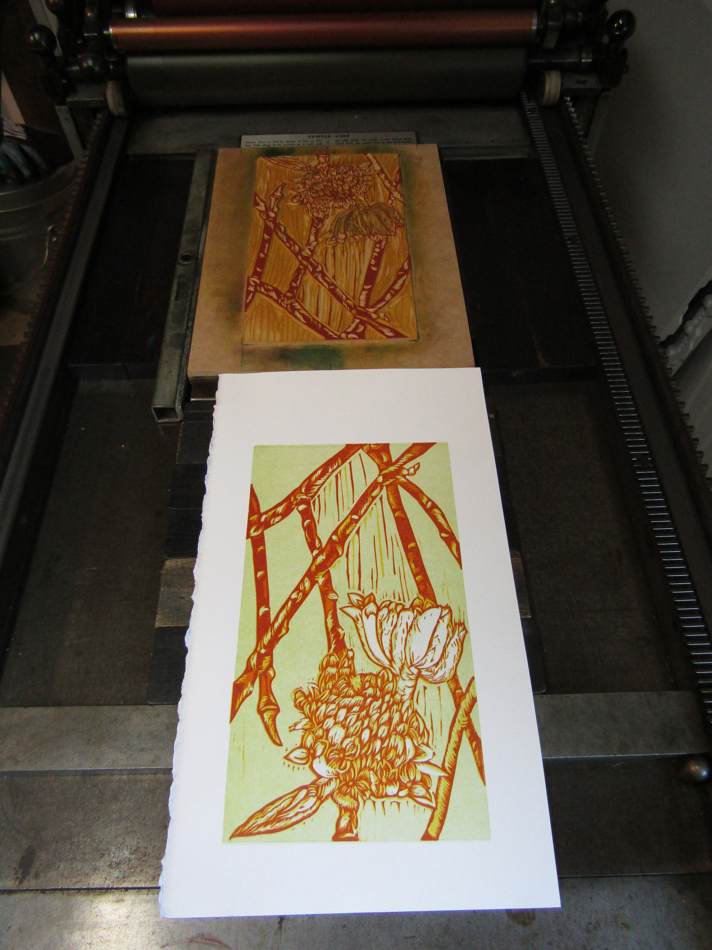 This print was fairly difficult to carve, register, and print due to the details of the flowers and buds.