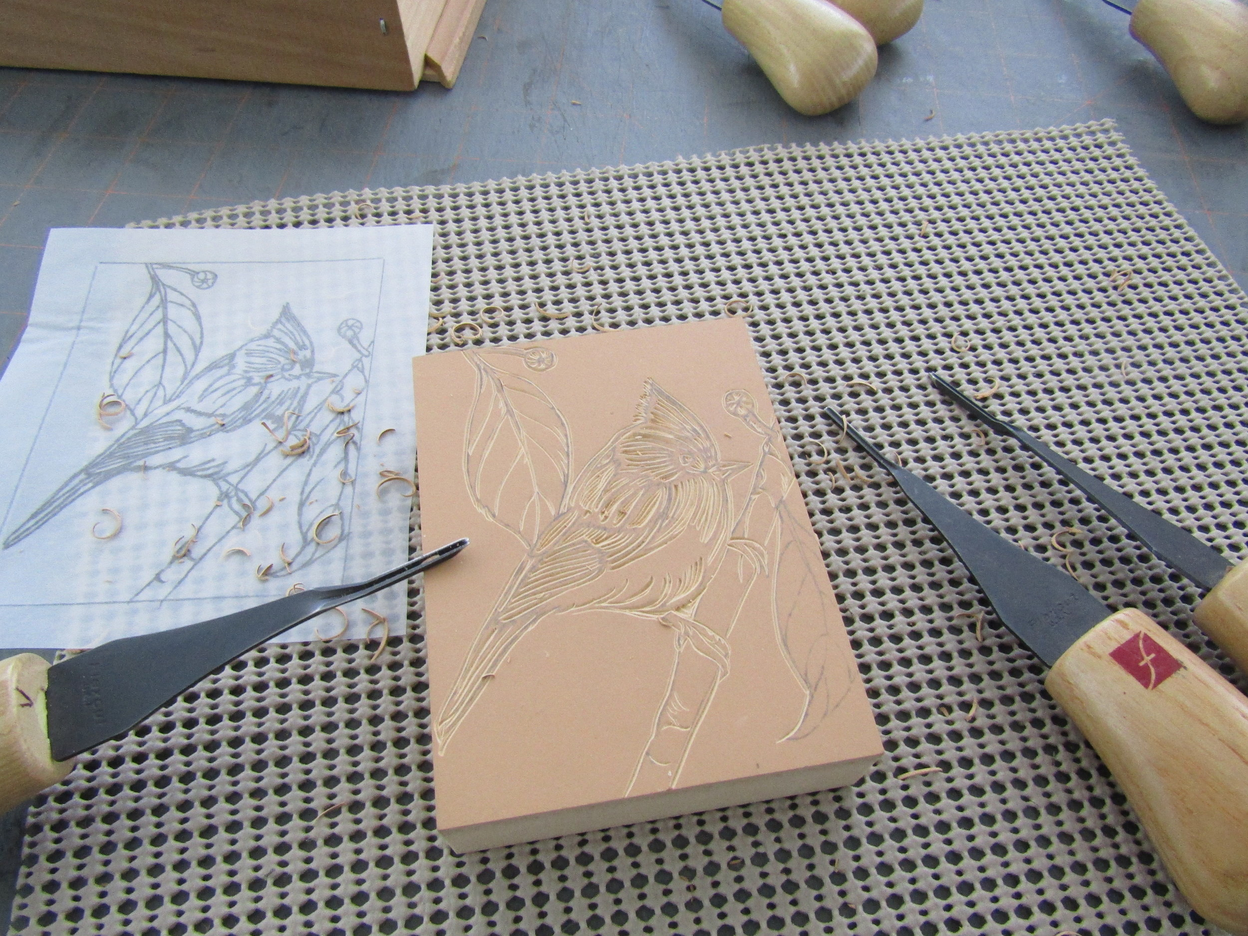 After completing the sketches, I transferred the images to the blocks, and then carved them. Once the carving was complered, I proofed each image prior to printing on my Vandercook SP 15.
