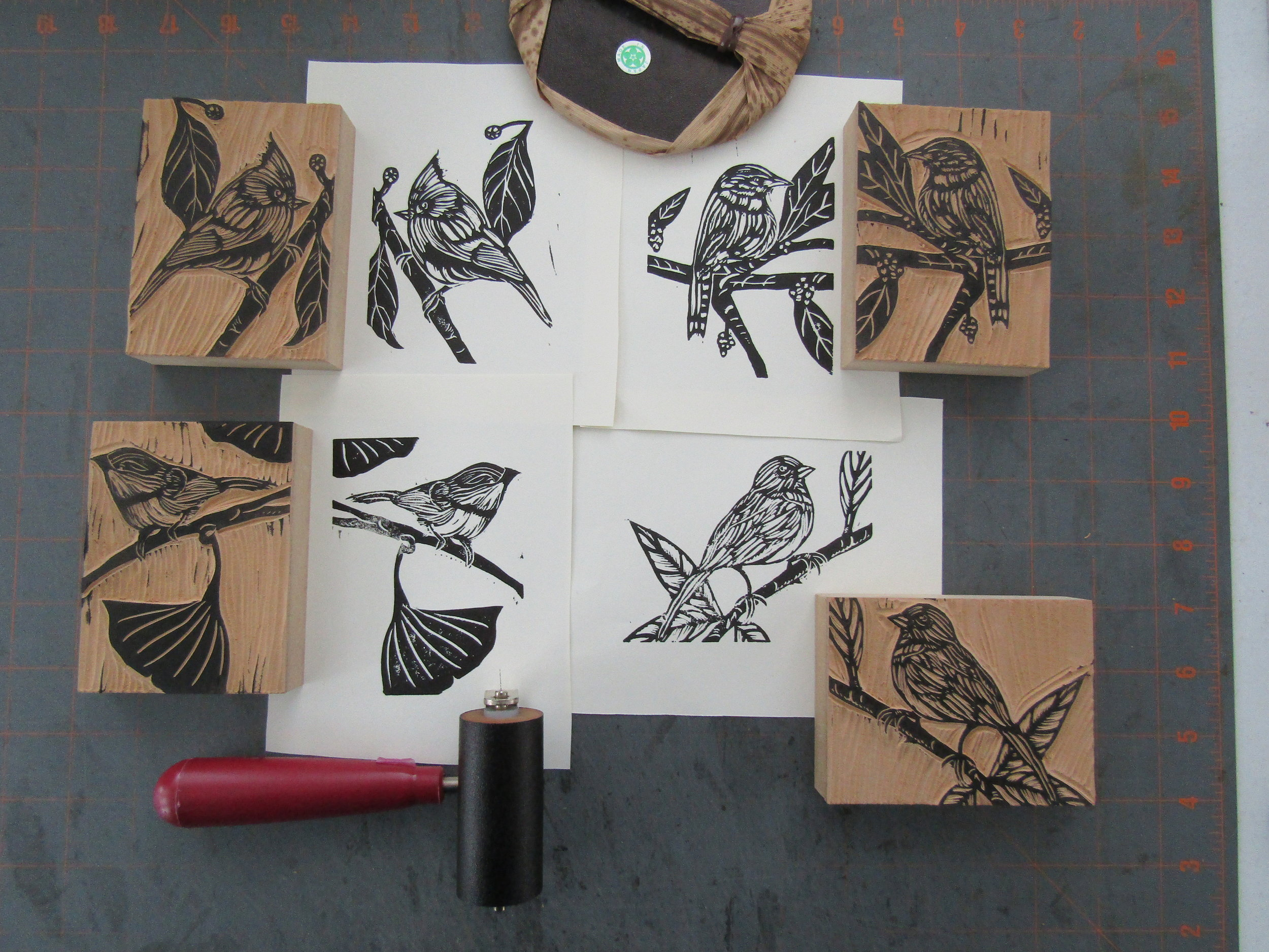 When all four birds were carved and proofed; I decided to print a group of blank greeting cards on chip board.