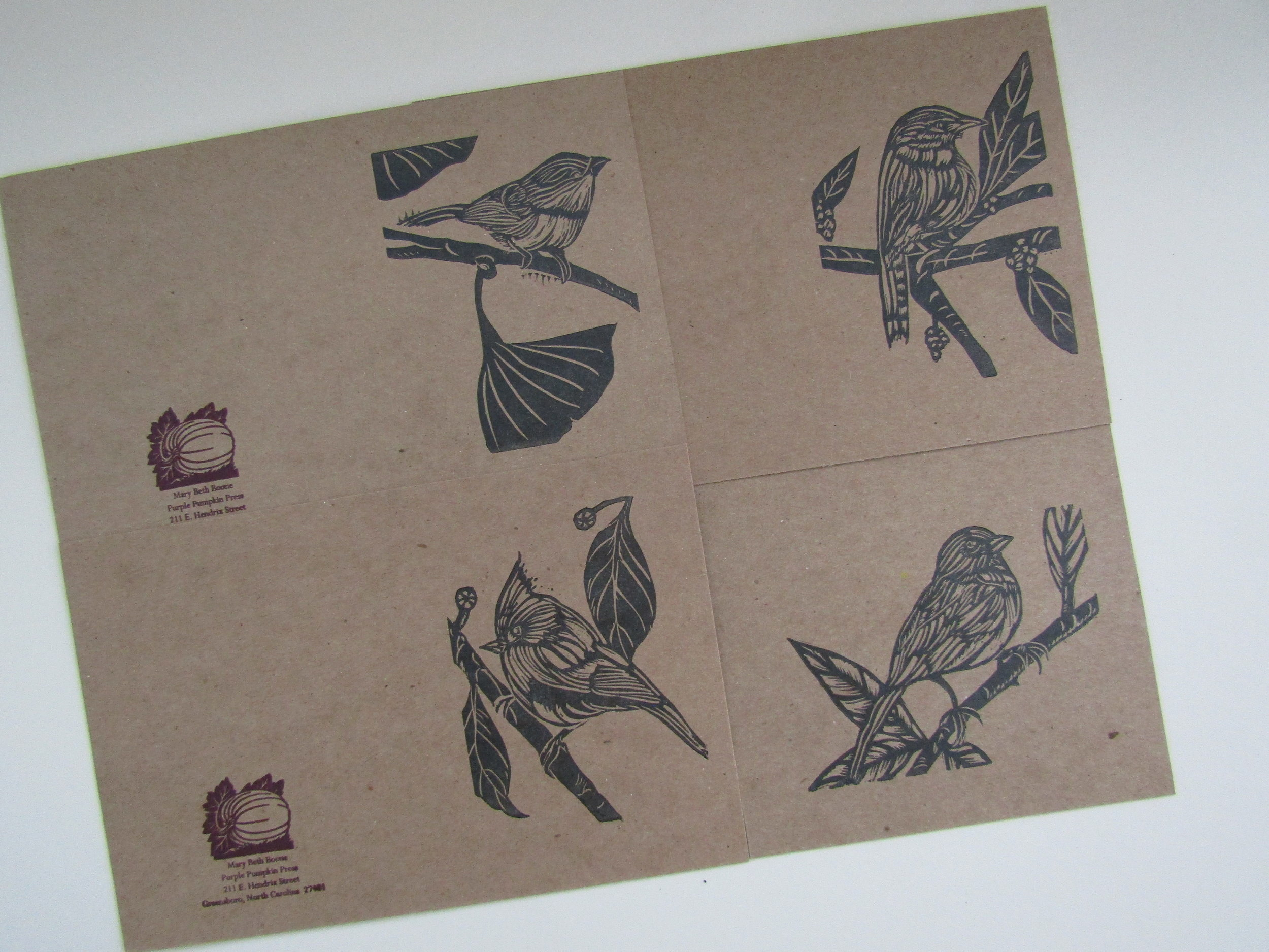 All four images have been printed! I will score, fold, and package the cards after the prints have dried.  This was a delightful group of images to print; particularly since I had carved the blocks in late October. Commission work and other commitments demanded that I sit this project aside for a later date. I hope to eventually print a small edition of these birds on handmade paper.