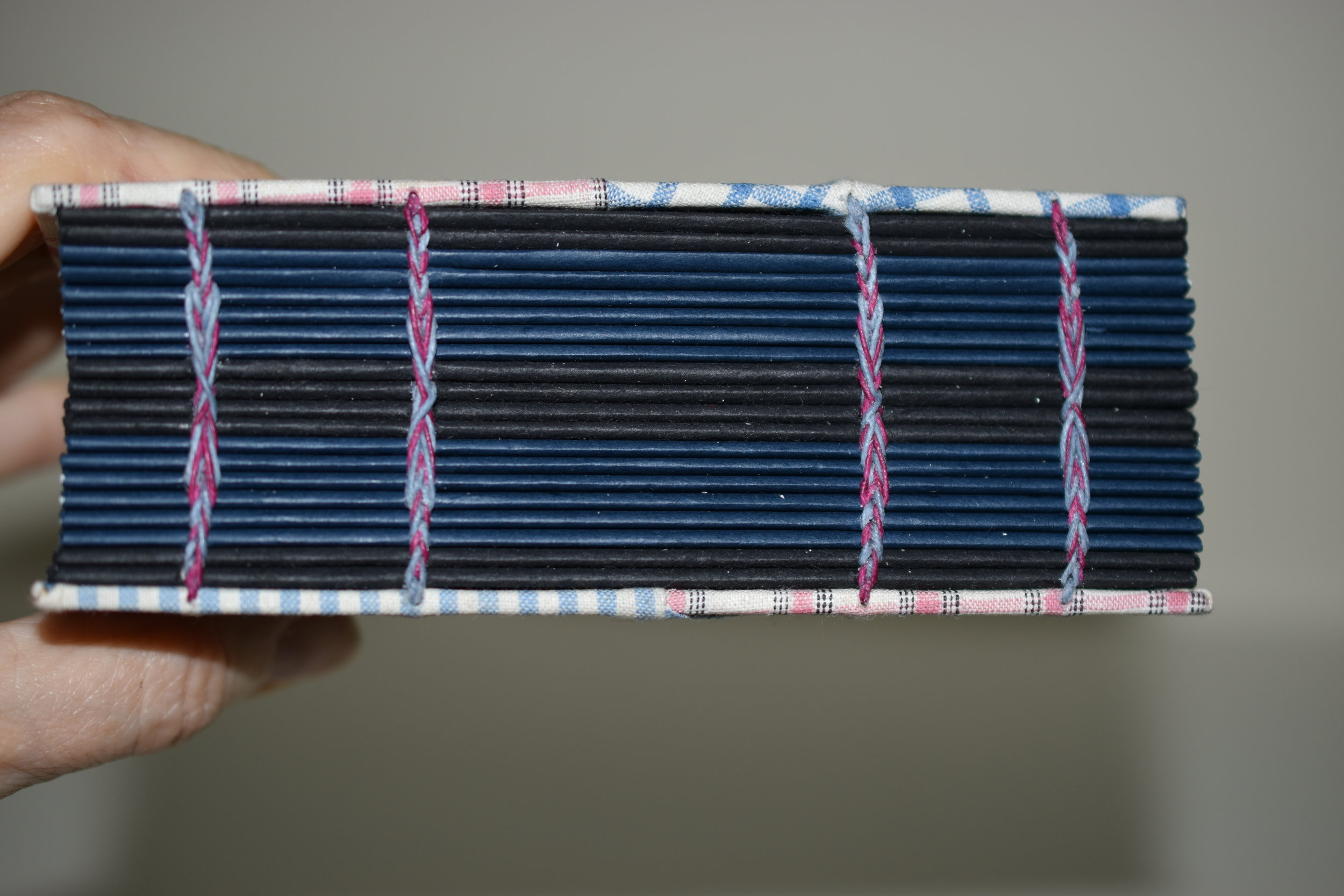 All sewn up….the contrasting colors of the waxed linen threads show up nicely on the navy and black end pages.