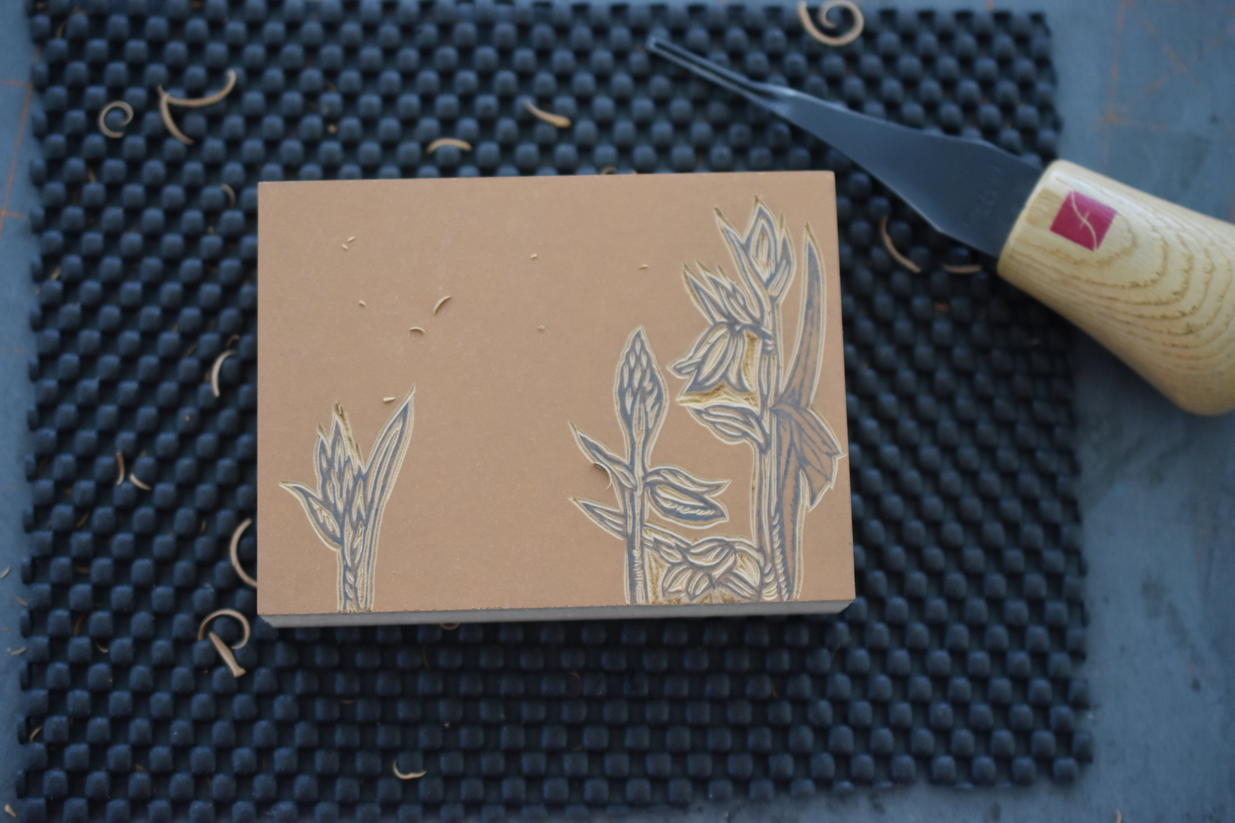 Carving the block - this will become a thank you card.