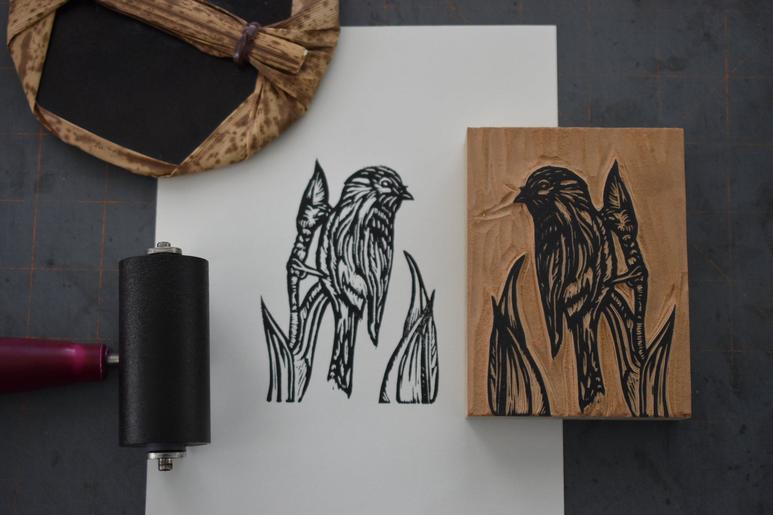 Finch and bud carved and proofed.