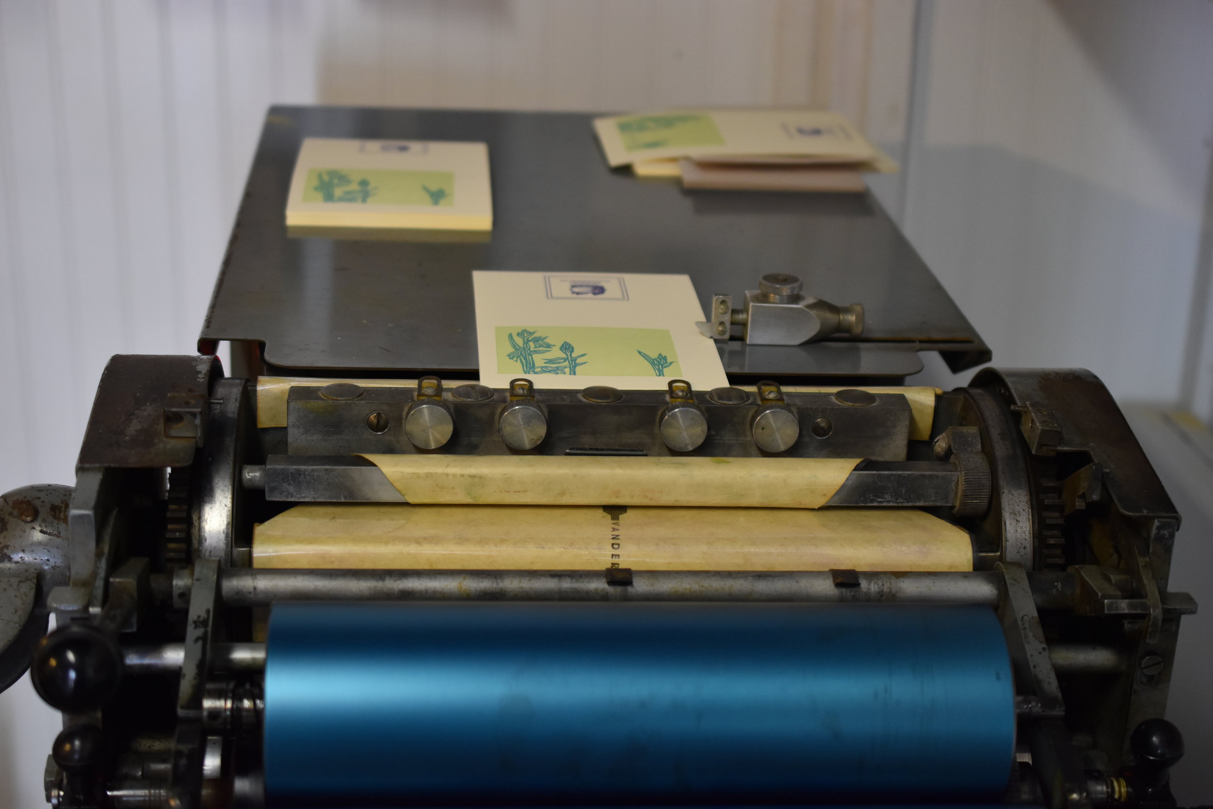 I love this picture of my vandercook. Printing the edition of thank you cards is underway!