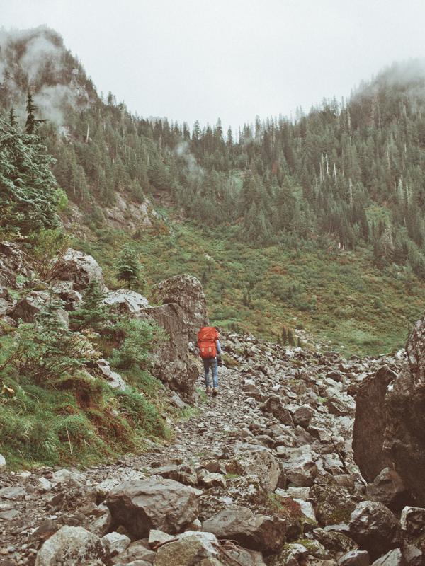 Shawn hiking by  Lon.