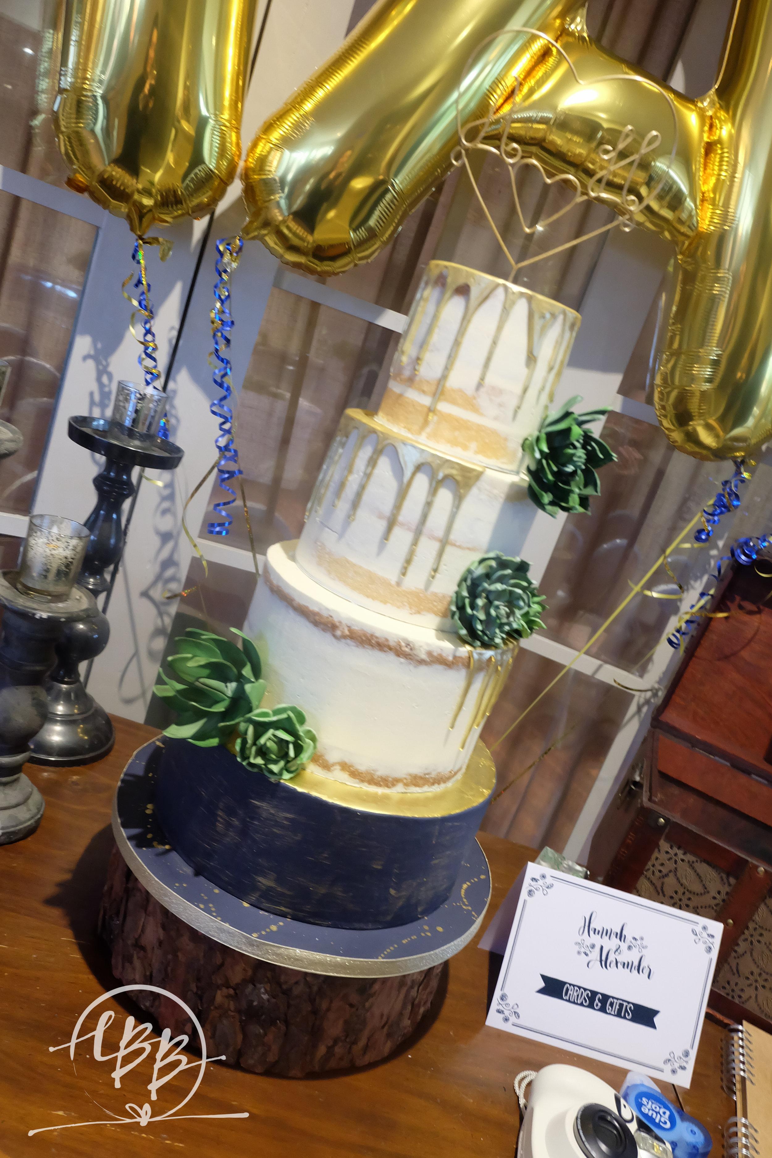 Great John Street Hotel Semi Naked Gold Drip Succulent Wedding Cake.jpg