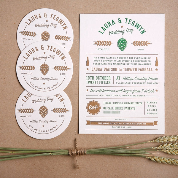 To and From Letterpress and hand drawn wedding stationary