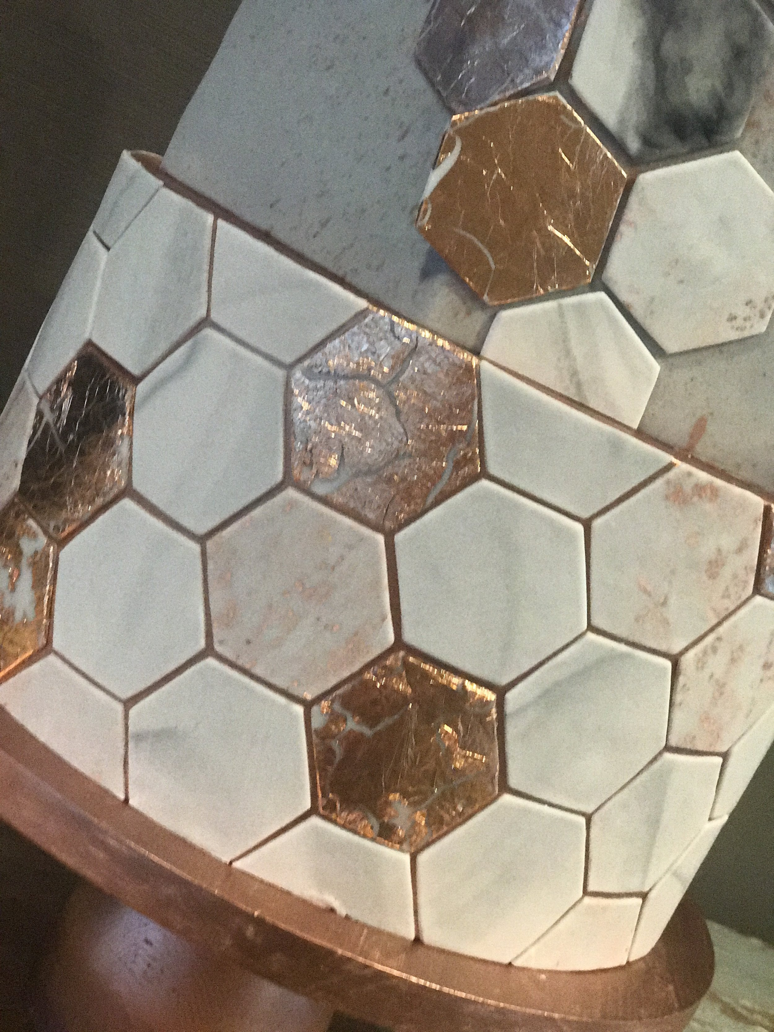 King Street Townhouse Manchester Bee Grey Marble Copper Hexagon Geometric Wedding Cake LGBT.jpg