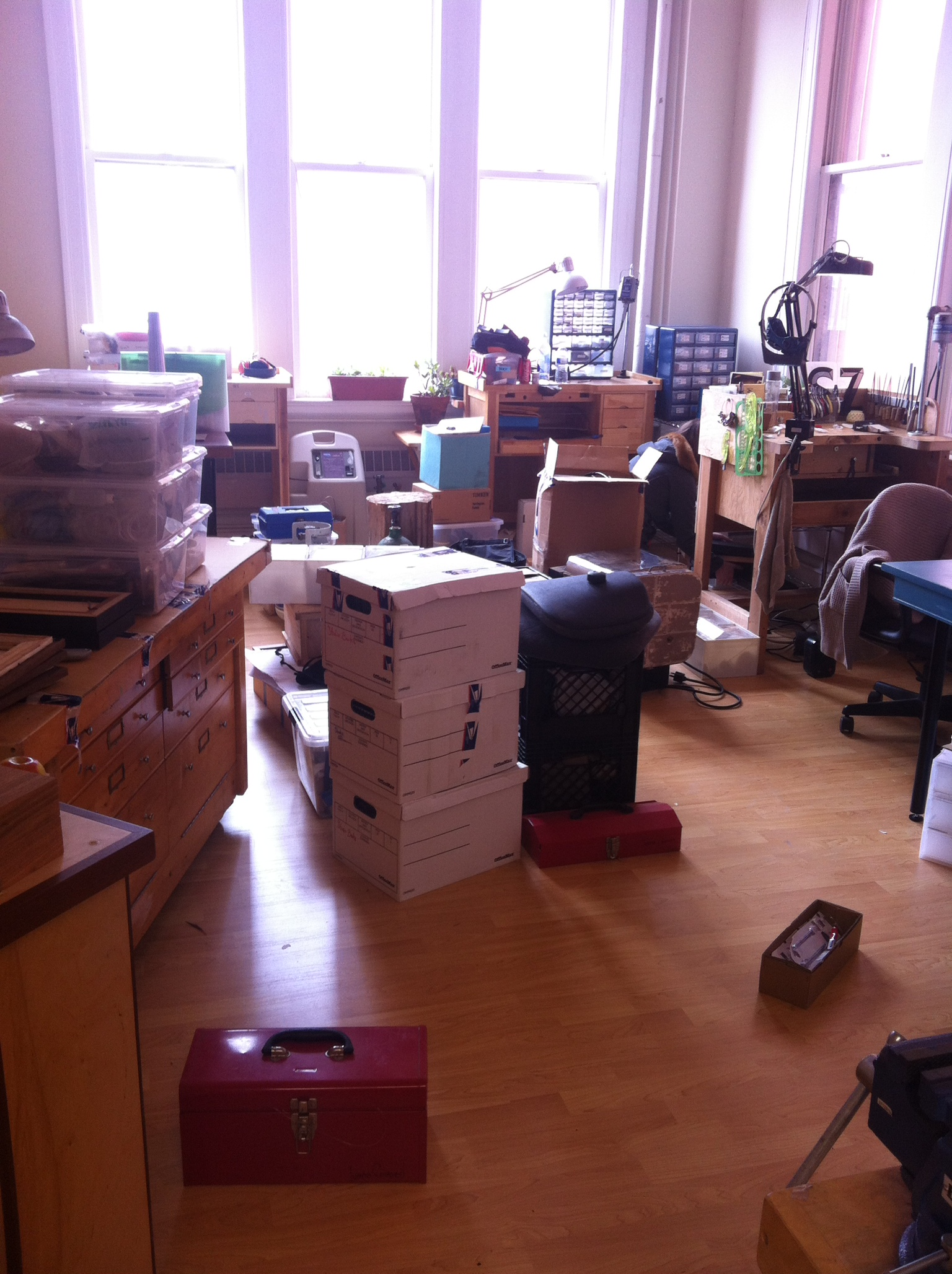 Mounds of unpacked boxes, with Corey Egan hiding somewhere in the pile.