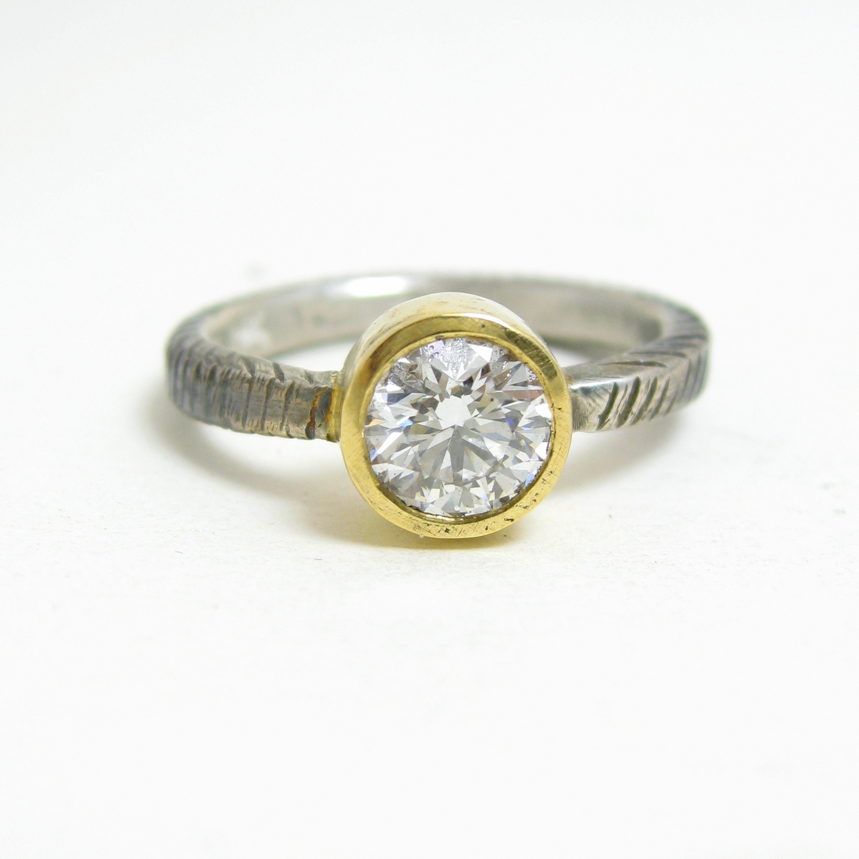 recycled diamond 18 karat gold setting oxidized silver ring
