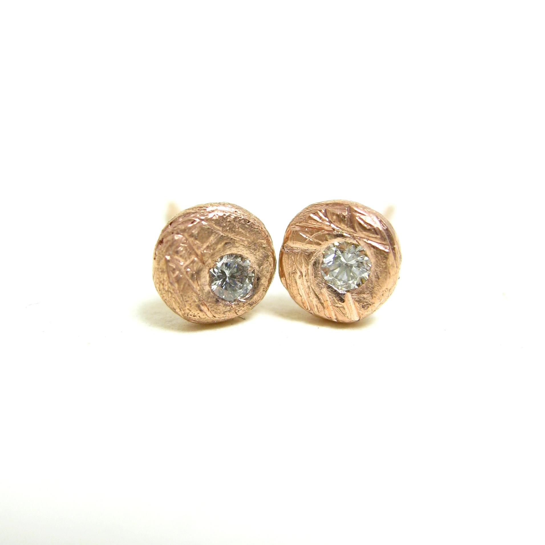 In the rough studs with recycled diamonds in rose gold