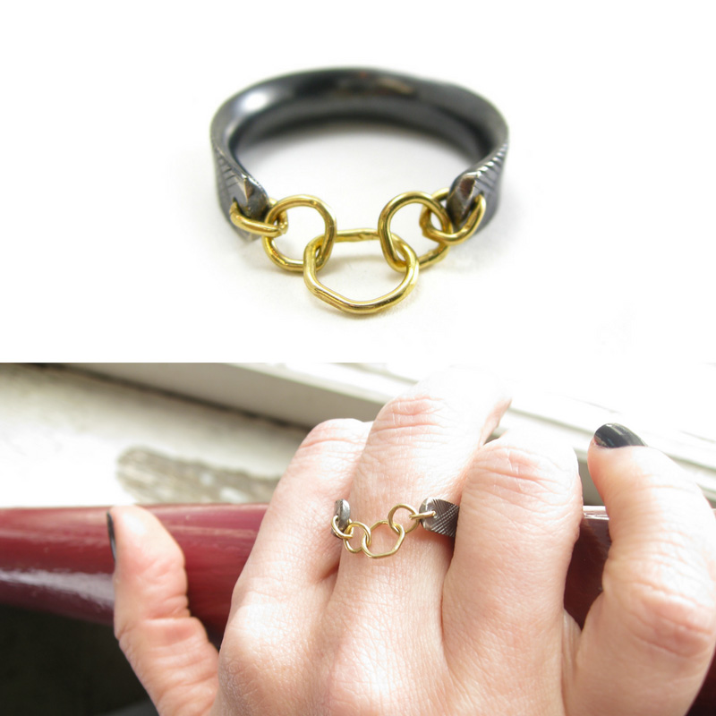 Chain link ring Oxidized silver and 18 karat gold- Sharon Z Jewelry.jpg