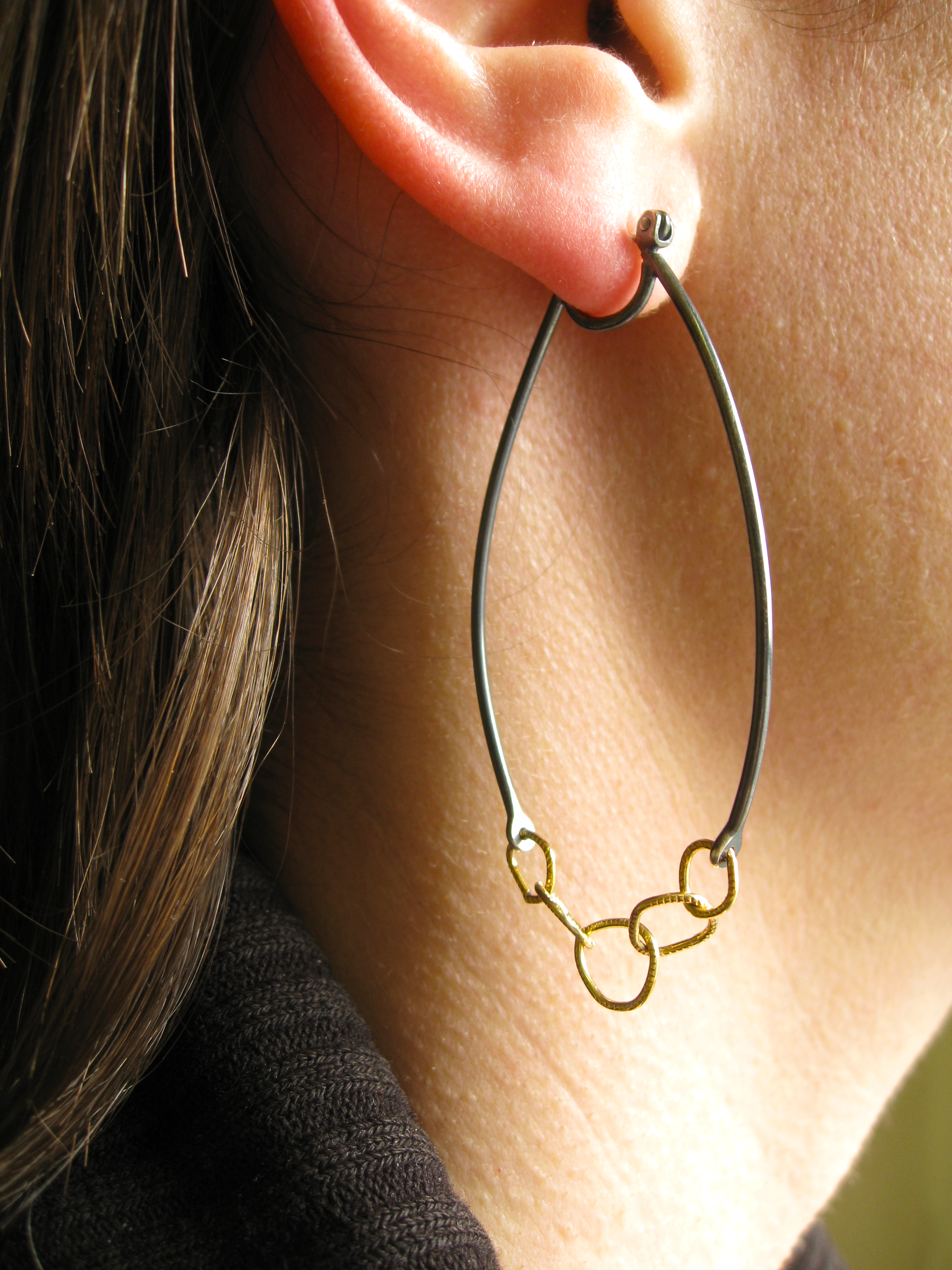 LINKED - chain link hoop earrings - oxidized silver and 18 karat gold - sustainable jewelry san francisco - sharon z jewelry sharon zimmerman.png