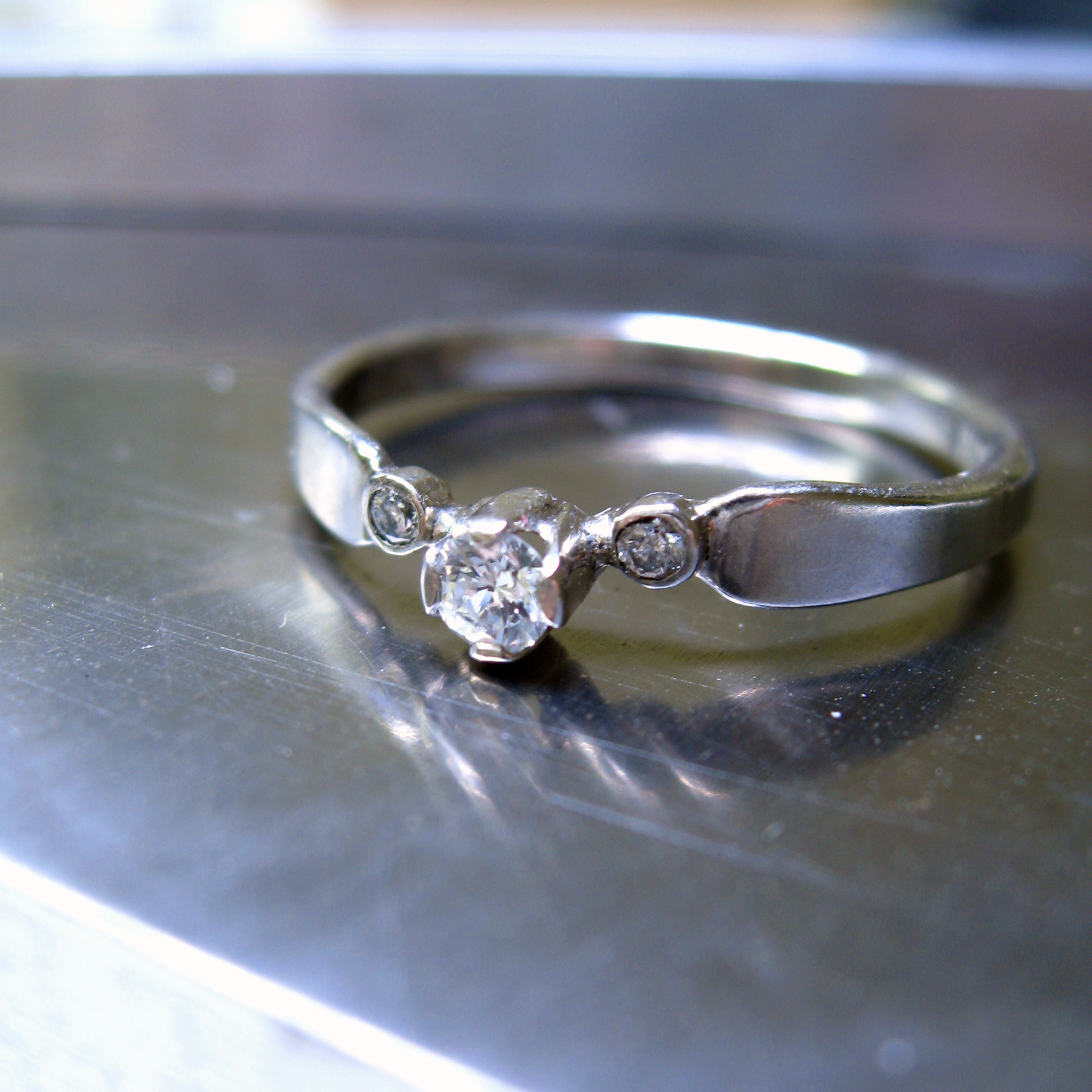 recycled diamond ring - engagement ring in recycled palldium - made in San Francisco - Sharon Z Jewelry - ethical jewelry.jpg